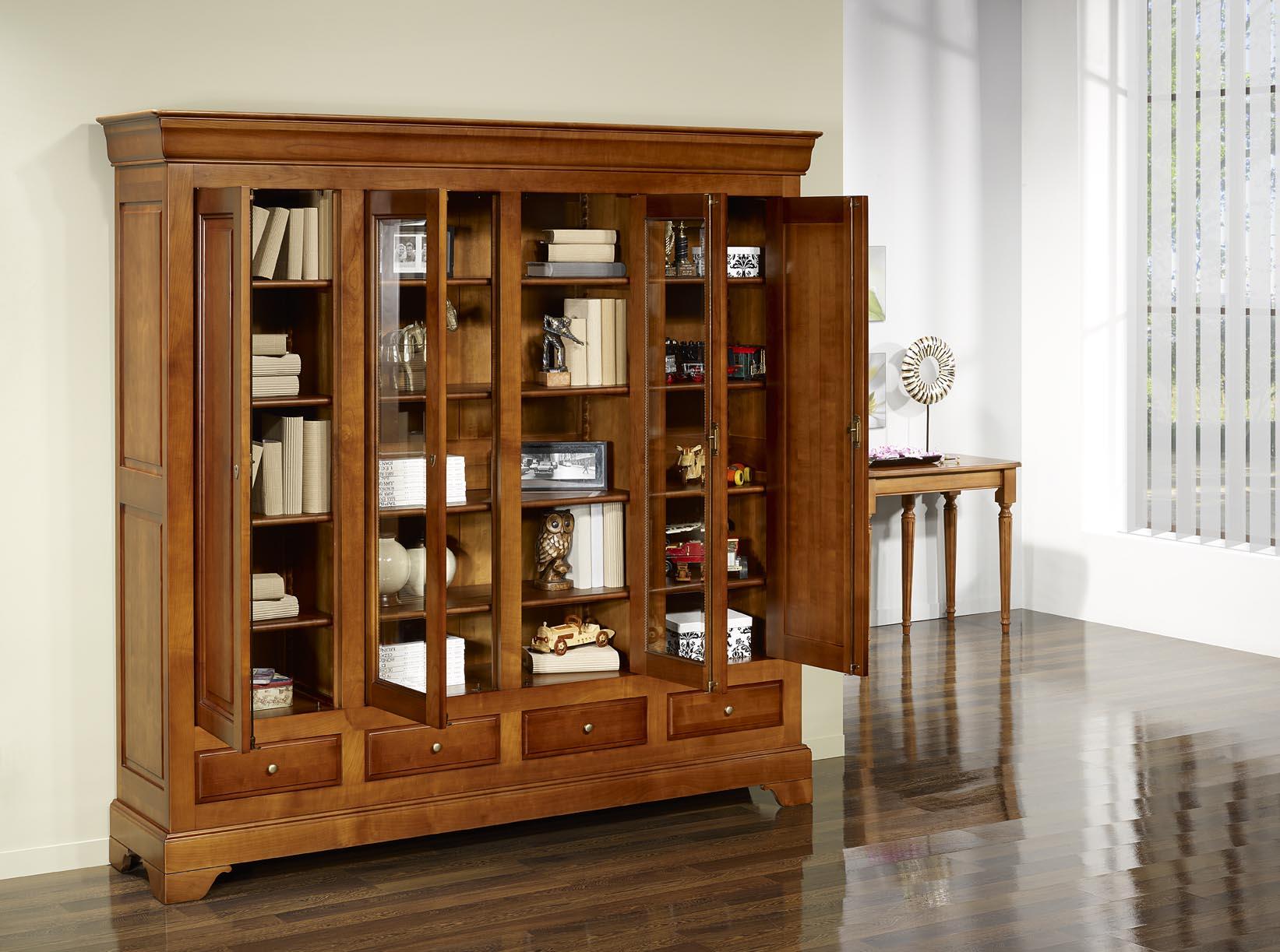 Biblioth que 4 portes in s en merisier massif de style louis philippe meubl - Bibliotheque bois massif ikea ...