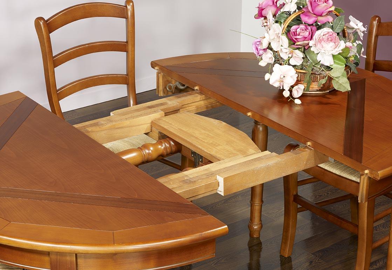 Table ronde 4 pieds plateau marquett en merisier de style - Diametre table ronde 4 personnes ...