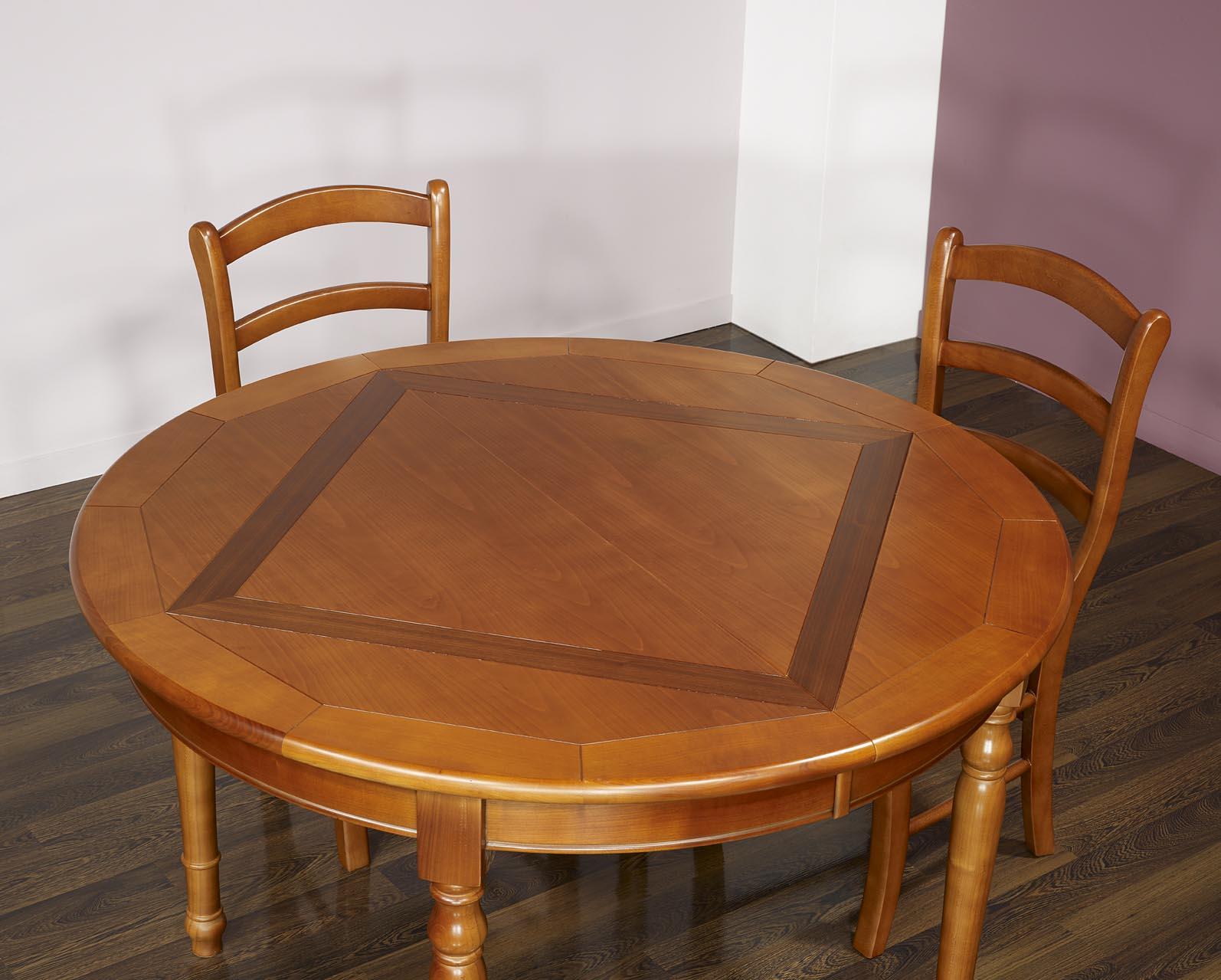 table ronde 4 pieds plateau marquett en merisier de style louis philippe diametre 120 finition. Black Bedroom Furniture Sets. Home Design Ideas