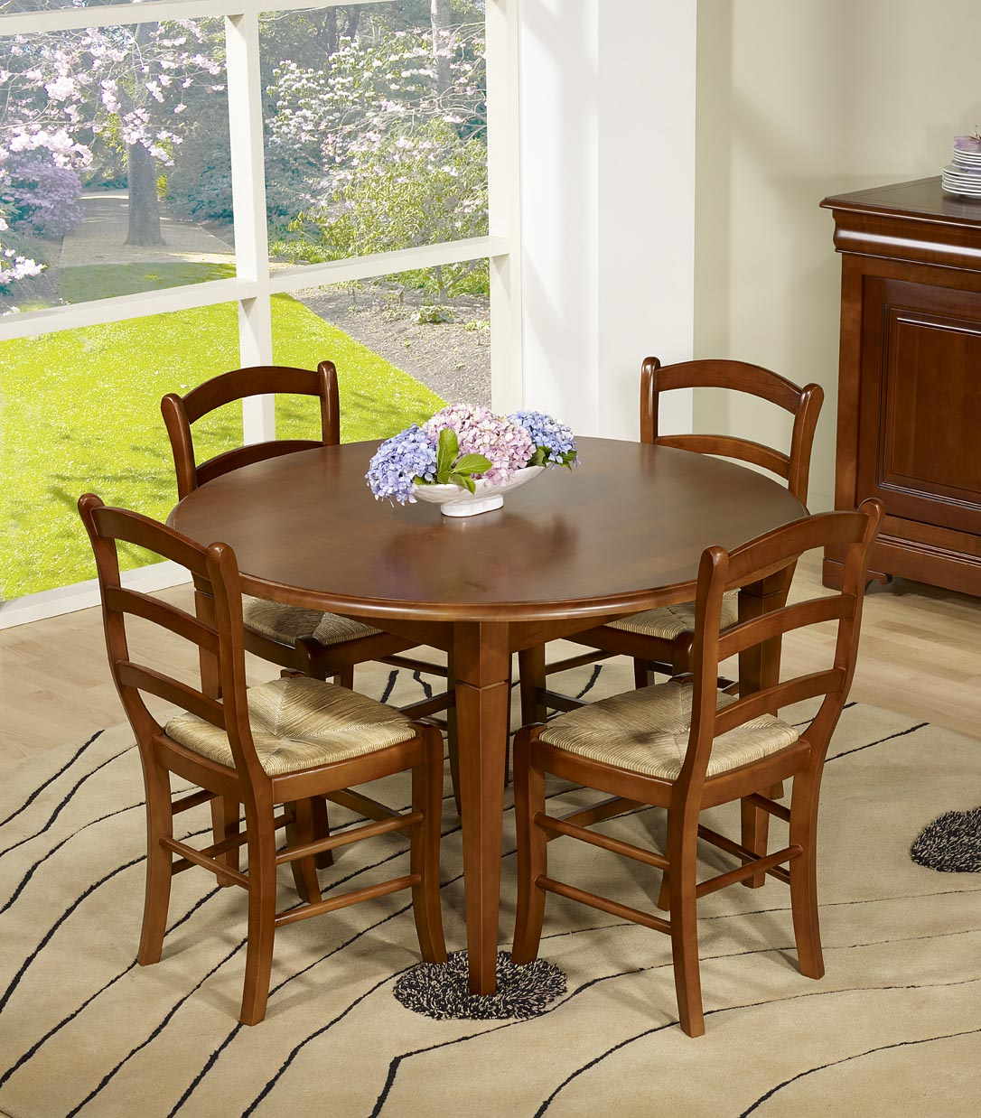 Table ronde en merisier massif de style louis philippe - Table ronde style louis philippe ...