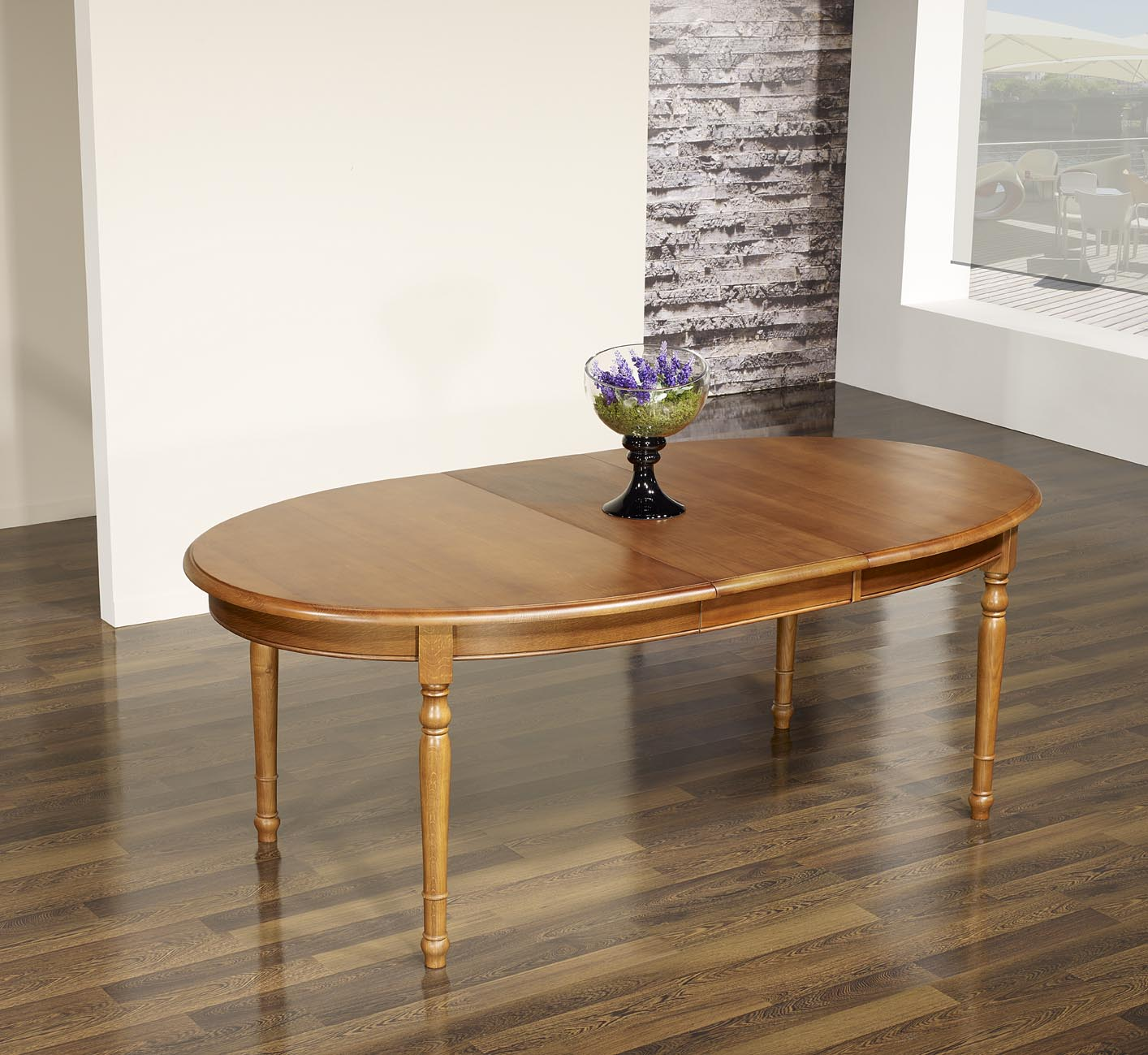 Table ovale 170x110 en ch ne massif de style louis for Table ovale allonge