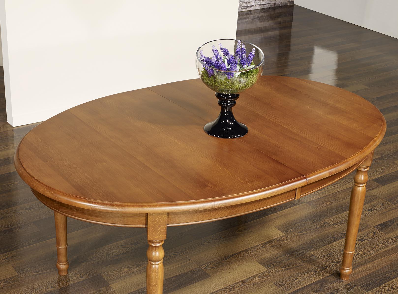 Table ovale 170x110 en ch ne massif de style louis for Table ovale 10 personnes