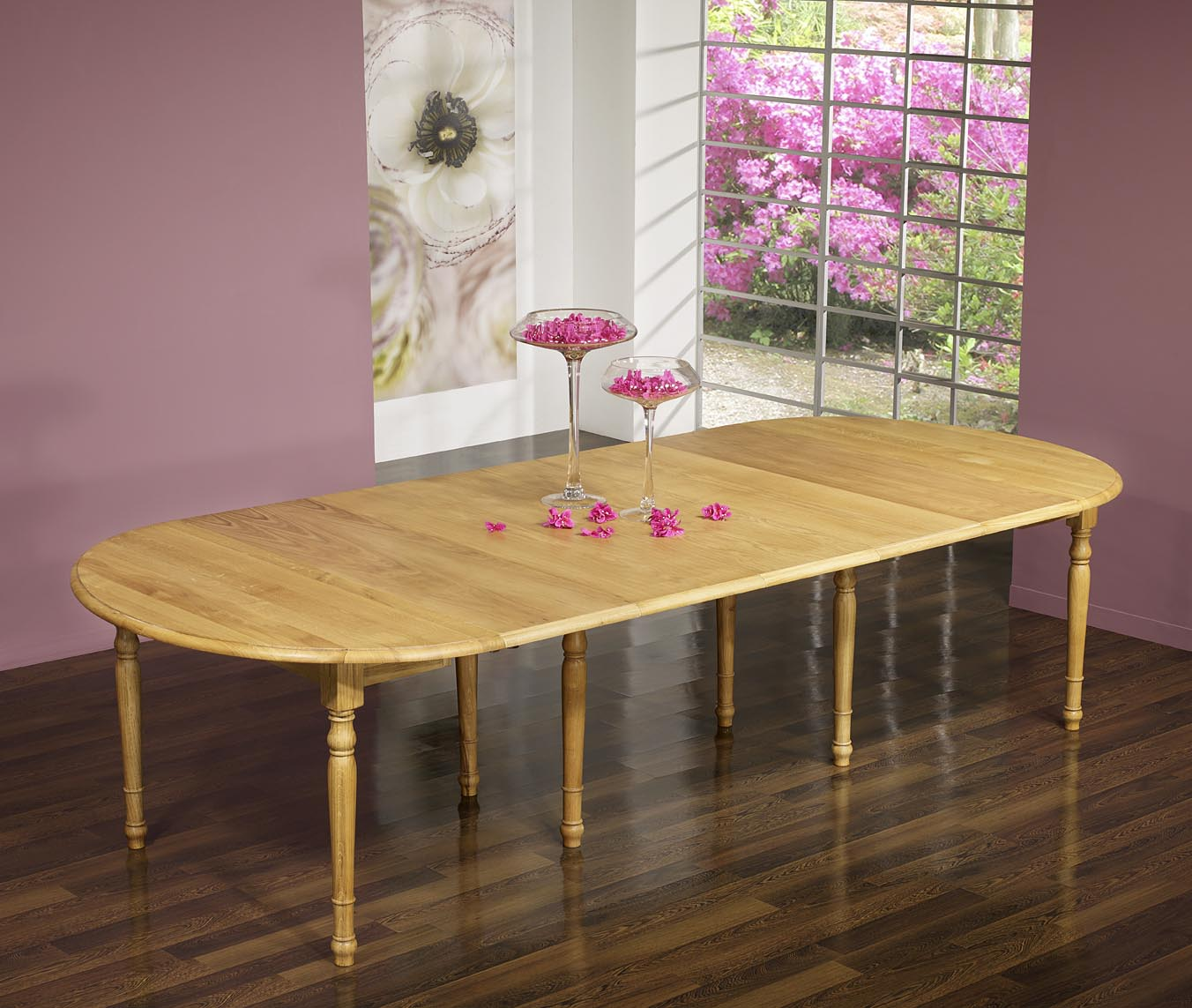 Table ovale volets 135x110 en ch ne massif de style for Table ovale avec allonges