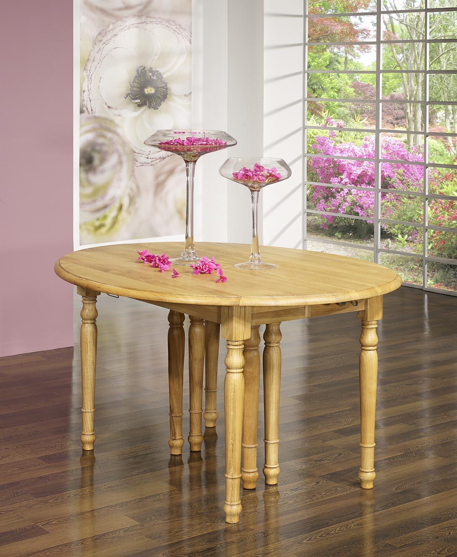 Table ovale volets 135x110 en ch ne massif de style for Table ovale 12 personnes
