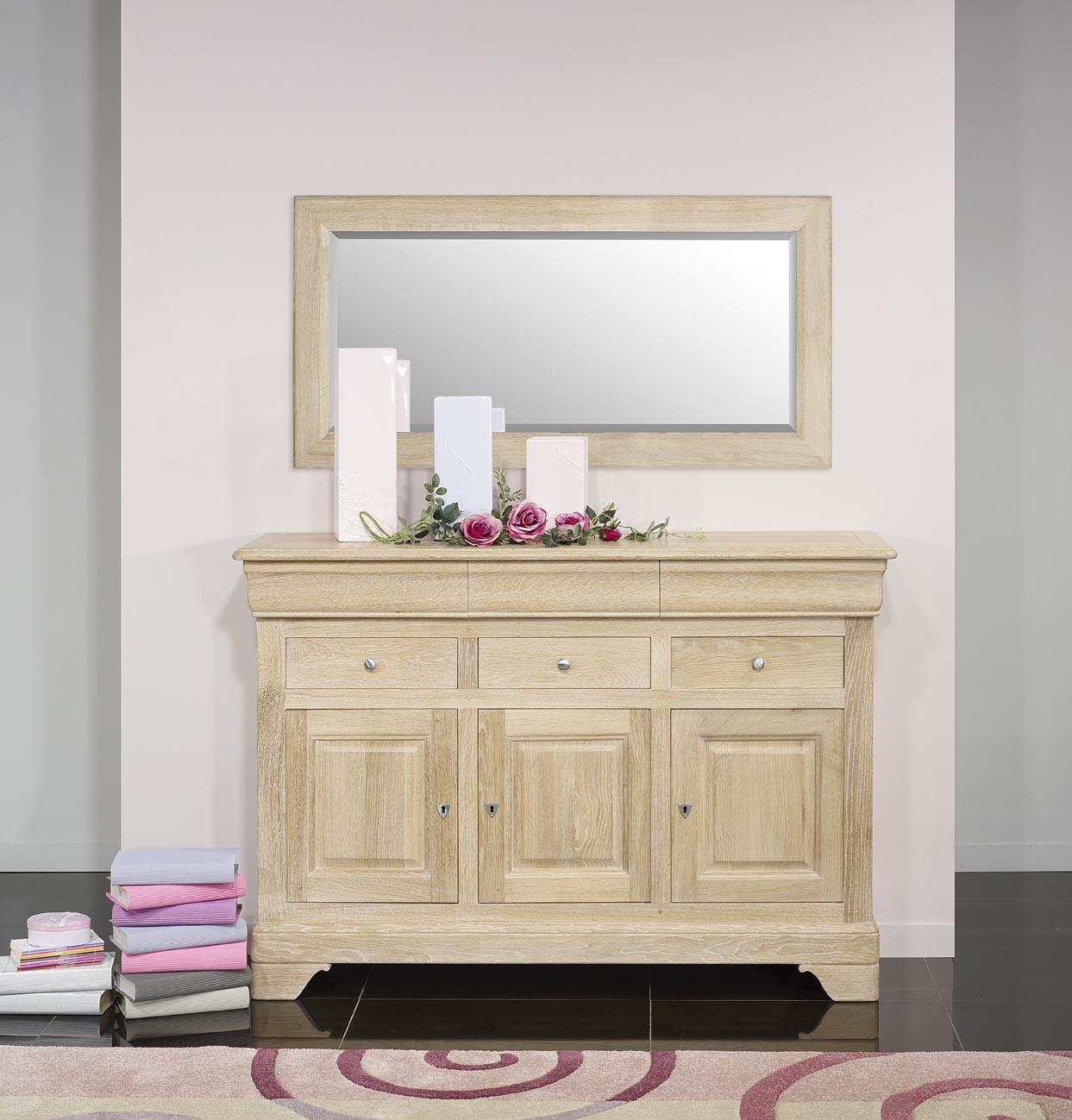 miroir glace biseaut e 120x60 en ch ne massif finition ch ne bross meuble en ch ne massif. Black Bedroom Furniture Sets. Home Design Ideas