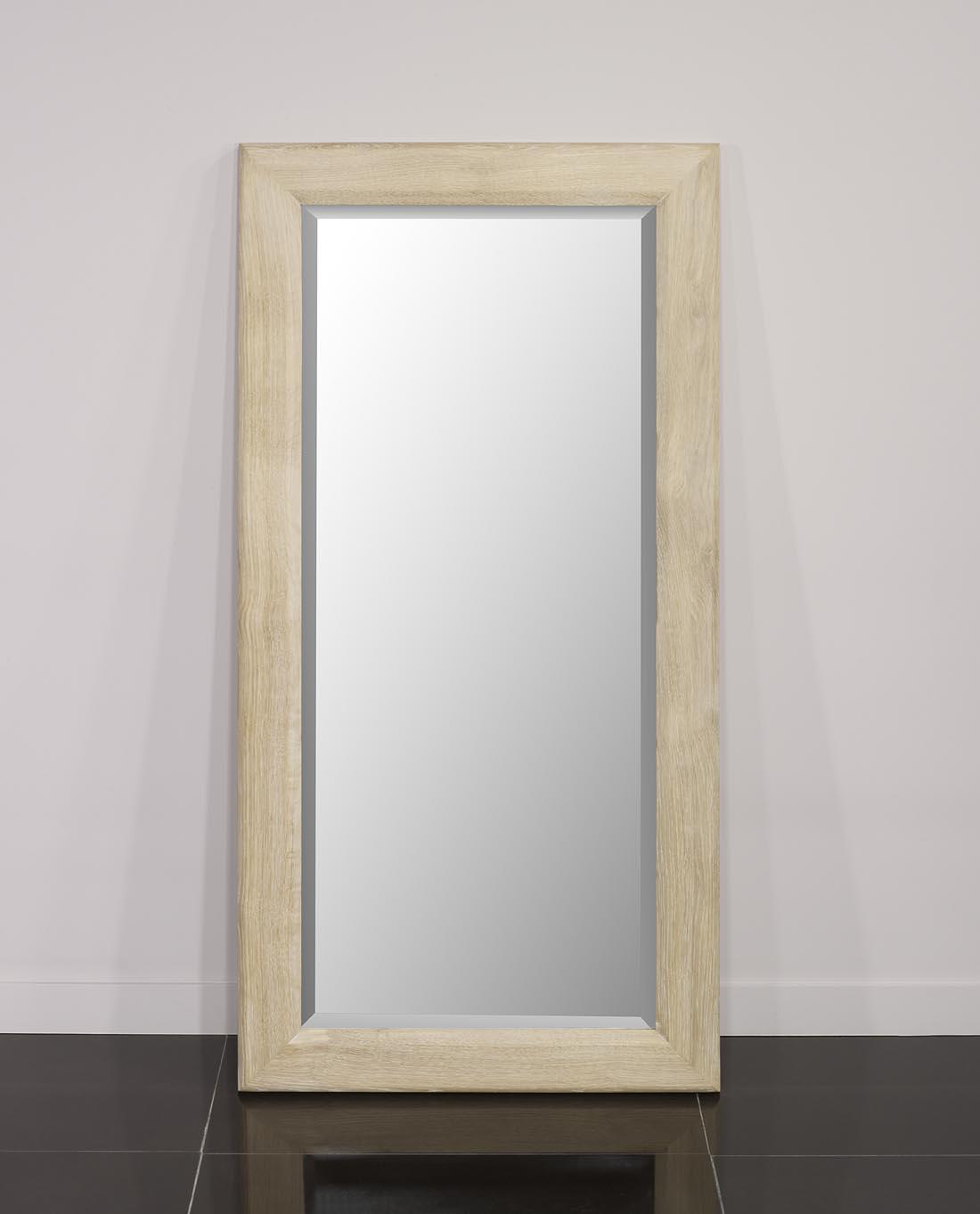 Miroir glace biseaut e 120x60 en ch ne massif finition for Miroir 50 x 60