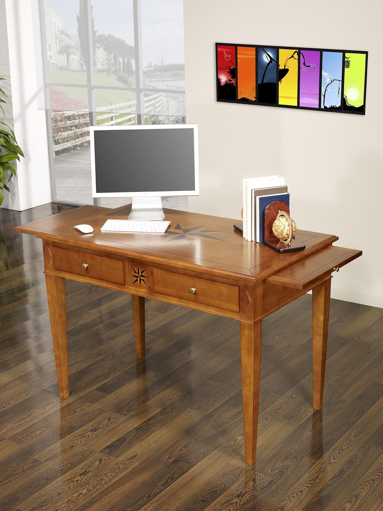 table d 39 criture 2 tiroirs rose des vents en merisier de style directoire meuble en merisier. Black Bedroom Furniture Sets. Home Design Ideas