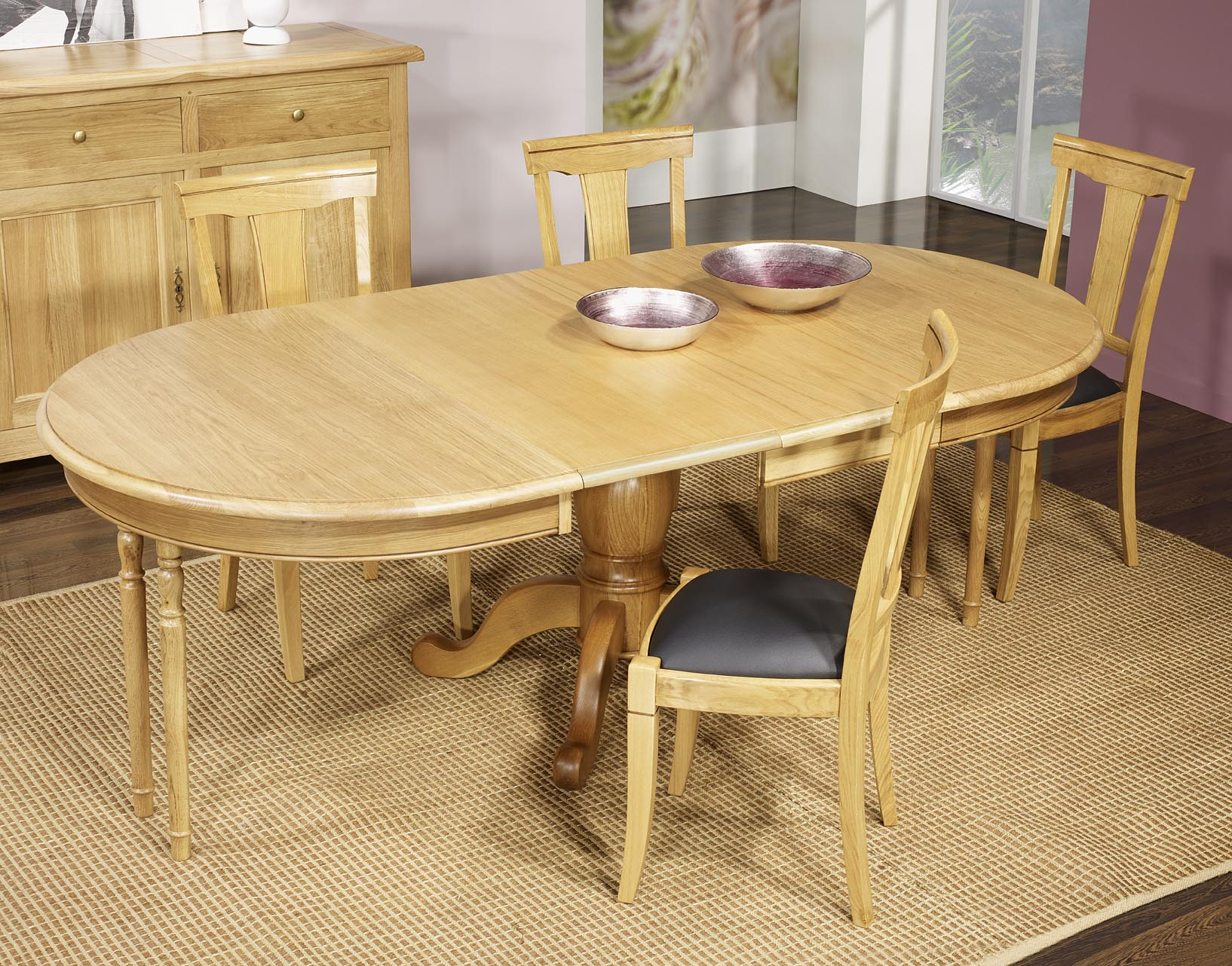 Table ovale pied central j r me en ch ne massif de style for Table ovale chene massif