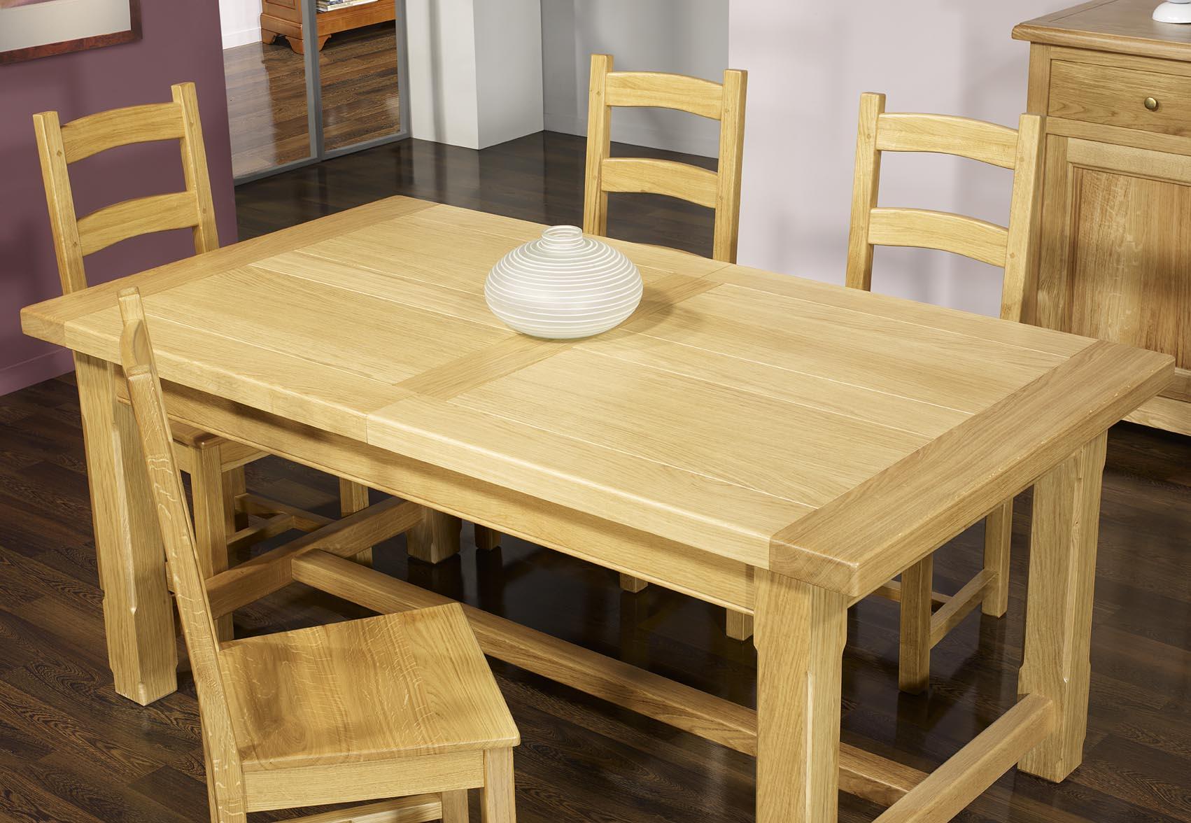 table de ferme rectangulaire en ch ne massif 160x100 2. Black Bedroom Furniture Sets. Home Design Ideas