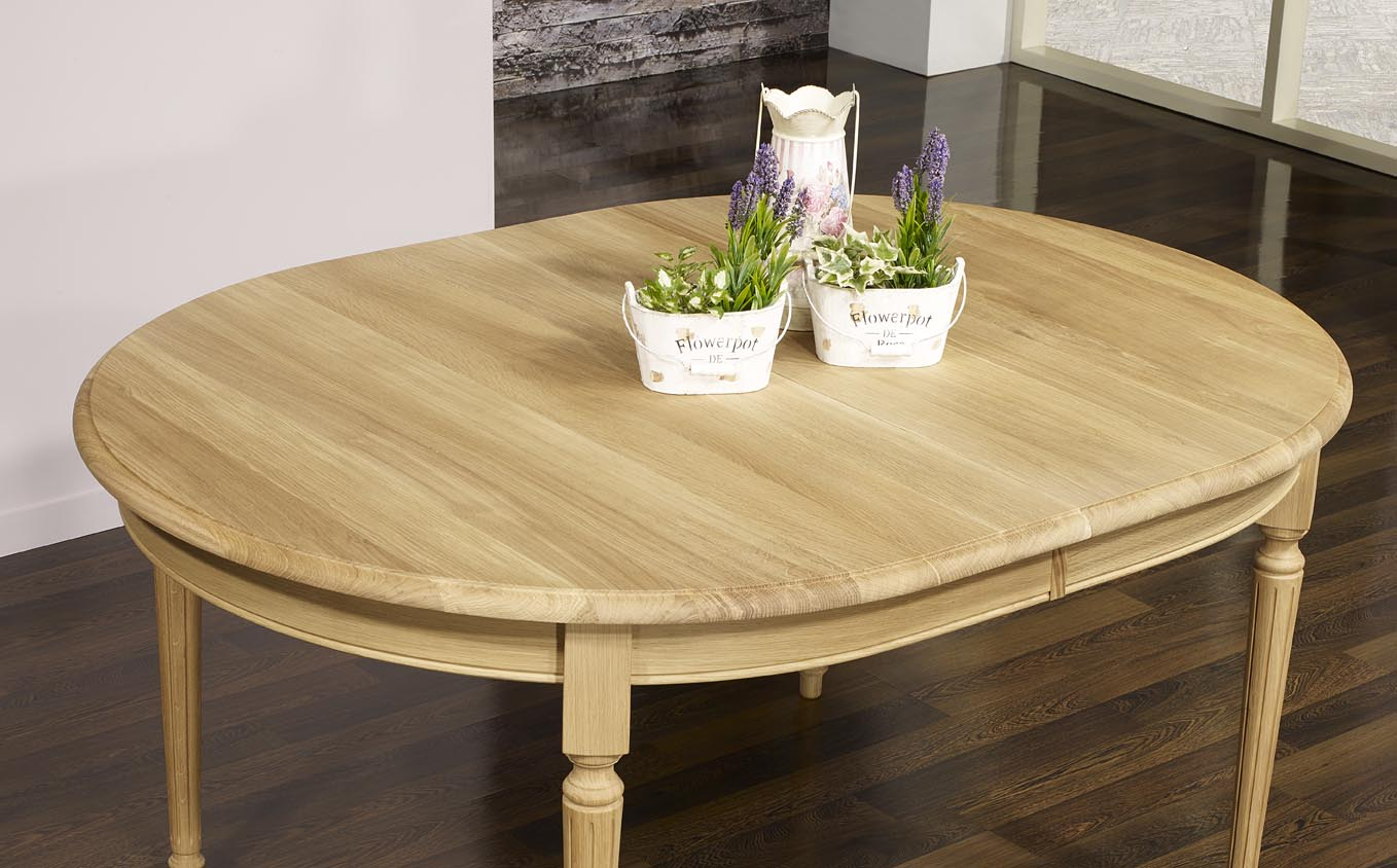 Table ovale 160x120 lambert en ch ne massif de style louis for Table ovale allonge