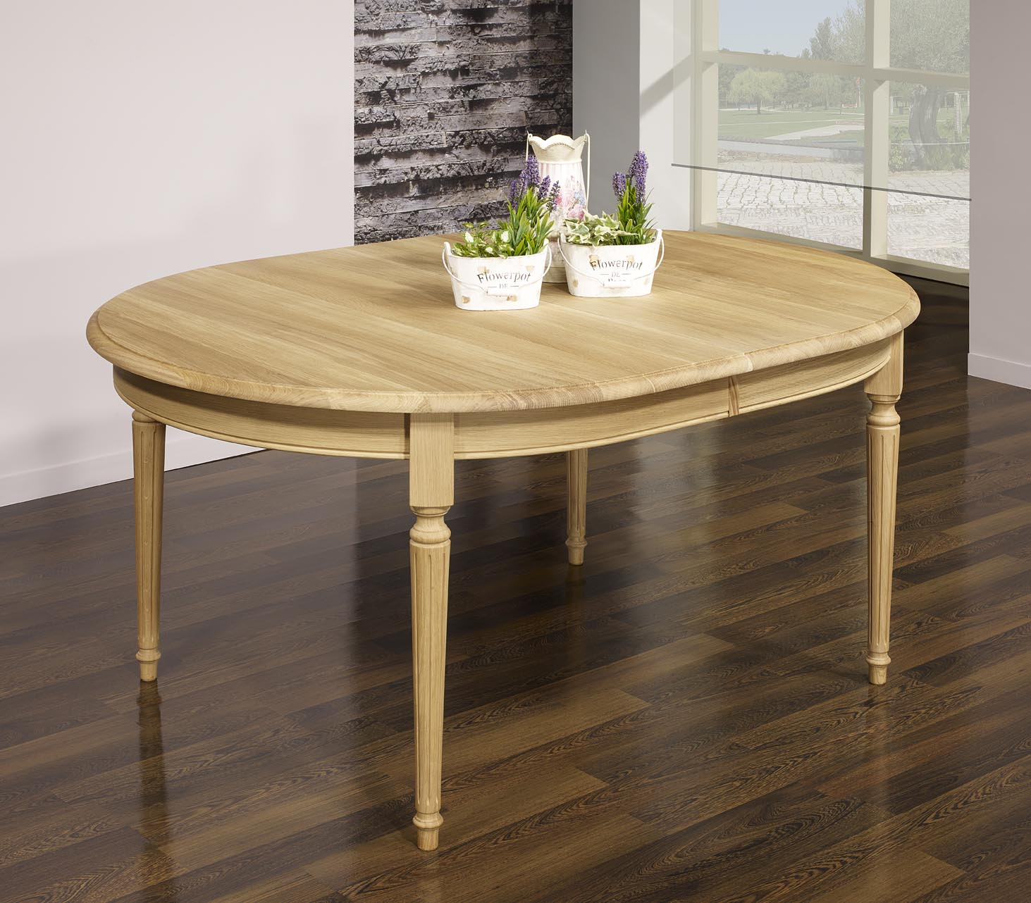 Table ovale 160x120 lambert en ch ne massif de style louis for Table de cuisine ovale