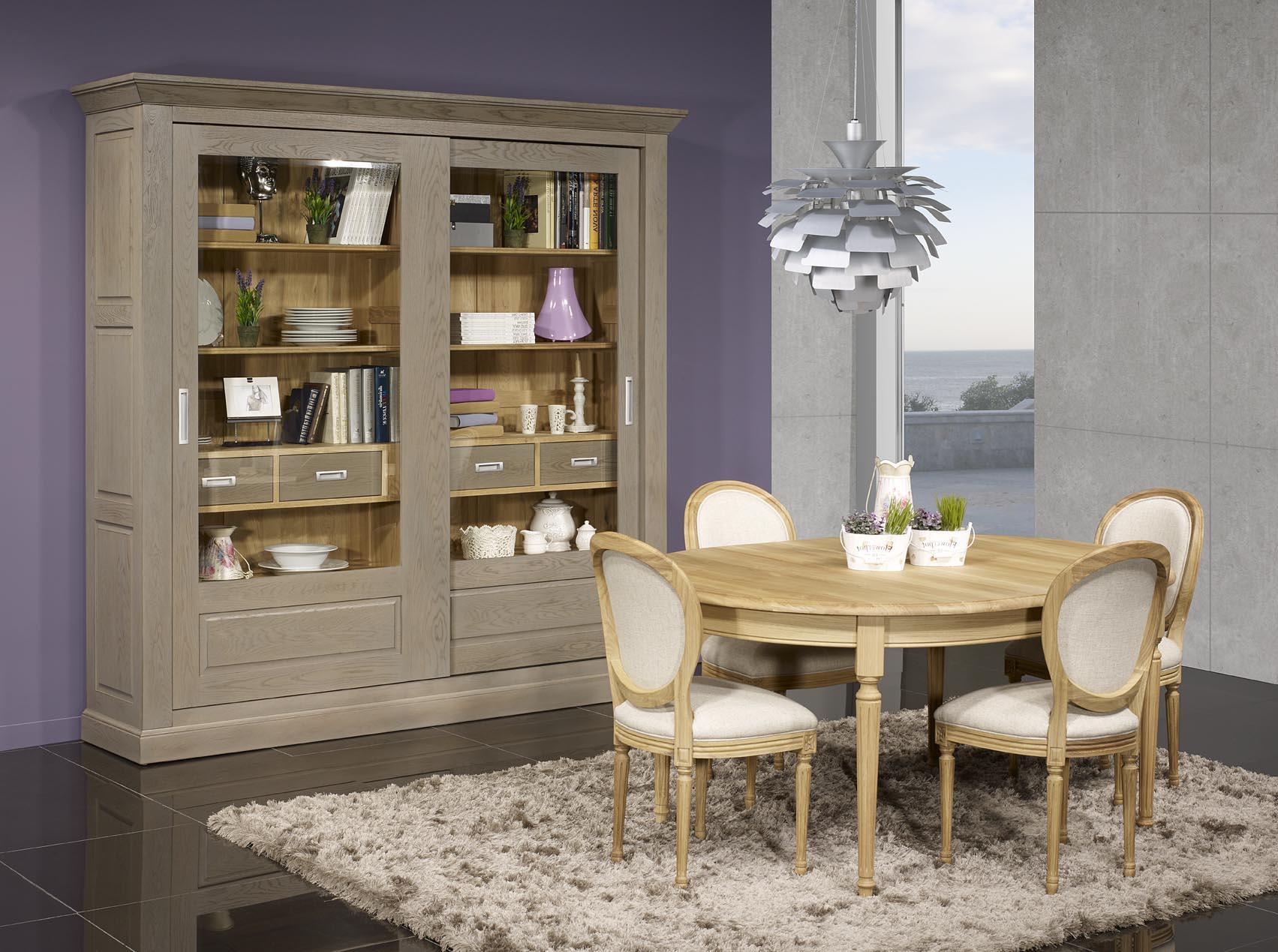 Table ovale 160x120 lambert en ch ne massif de style louis for Meuble tv ovale