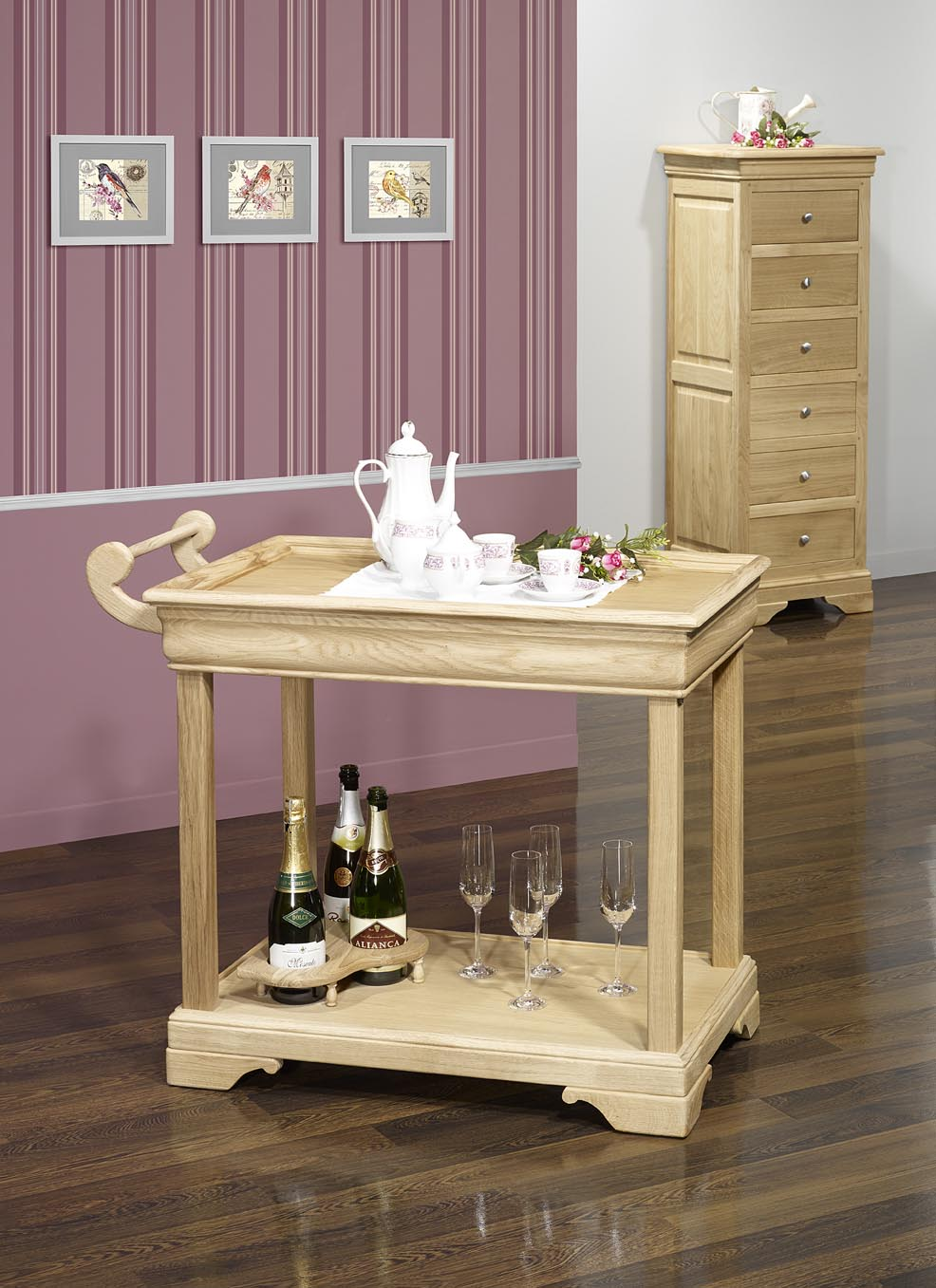 Table Desserte Roulante En Chêne De Style Louis Philippe