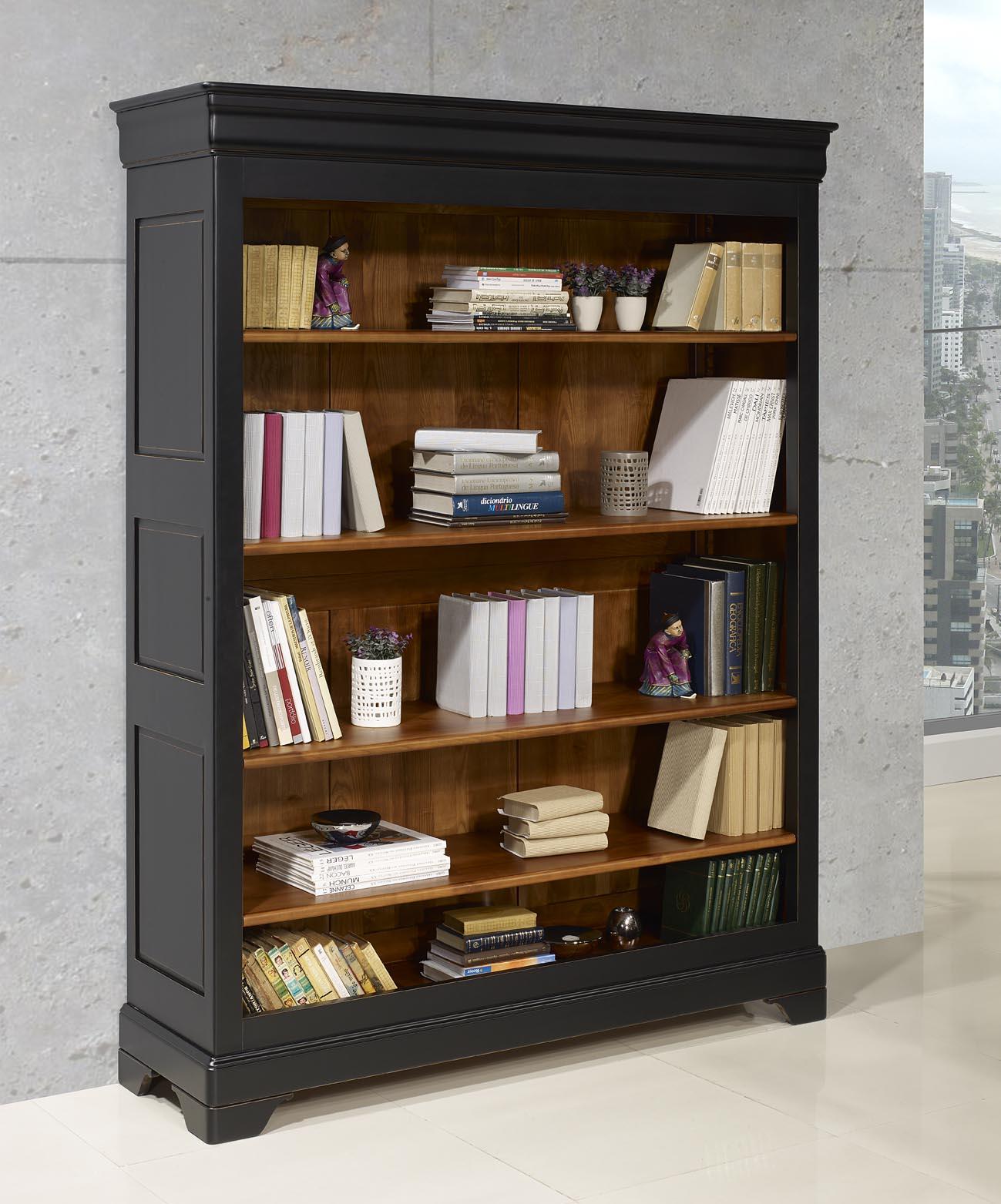 Biblioth Que En Merisier Massif De Style Louis Philippe Noir Us  # Bibliotheque Directoire Avec Etageres En Merisier