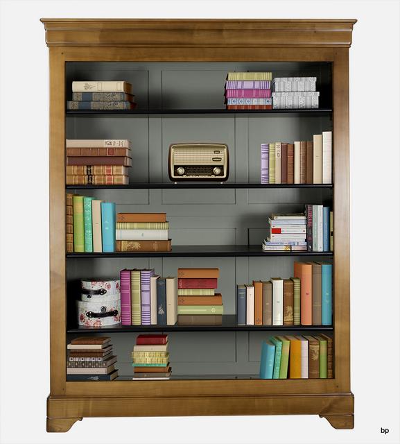 biblioth que en merisier massif de style louis philippe int rieur gris meuble en merisier massif. Black Bedroom Furniture Sets. Home Design Ideas