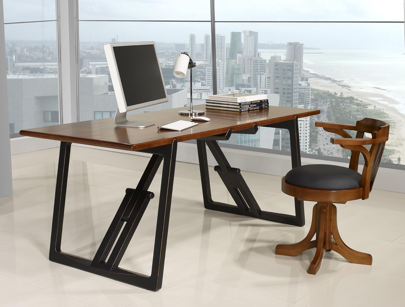 table de bureau en merisier massif de ligne contemporaine pi tement noir us et patin meuble. Black Bedroom Furniture Sets. Home Design Ideas