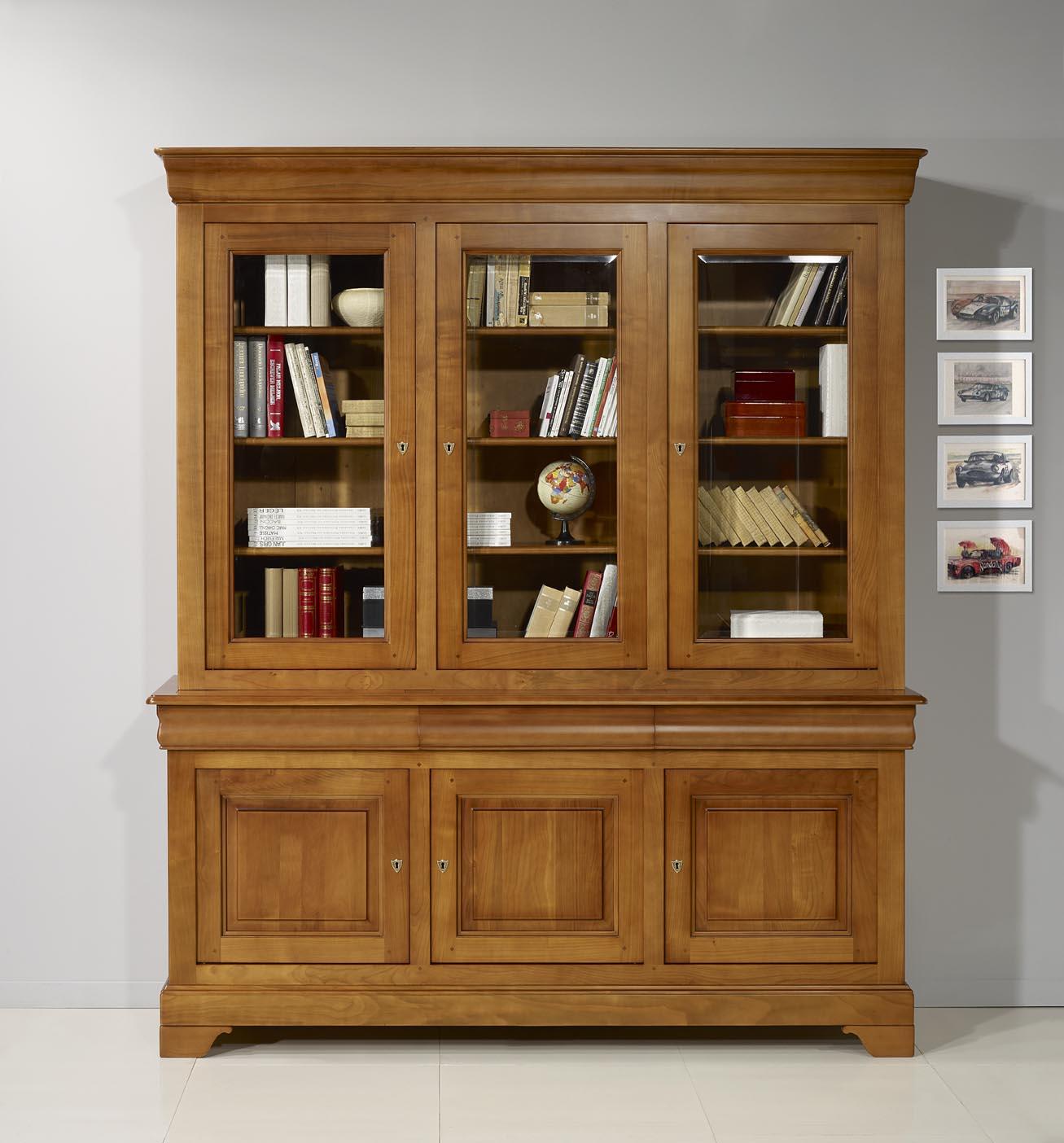 Biblioth que 2 corps 3 portes en merisier massif de style louis philippe meuble en merisier massif - Meuble merisier style louis philippe ...