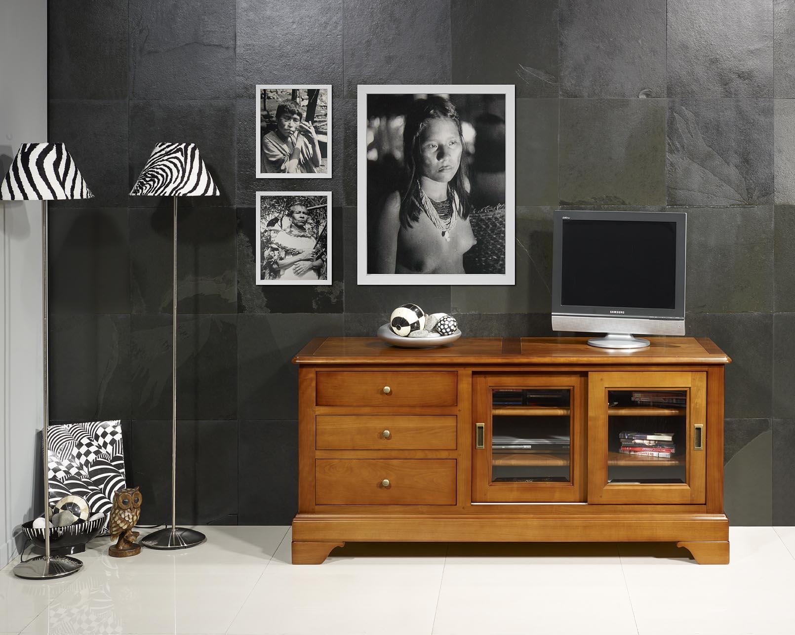 Meuble Tv Bois Portes Coulissantes Artzein Com # Meuble Tv Blanc Mat Porte Coulissante