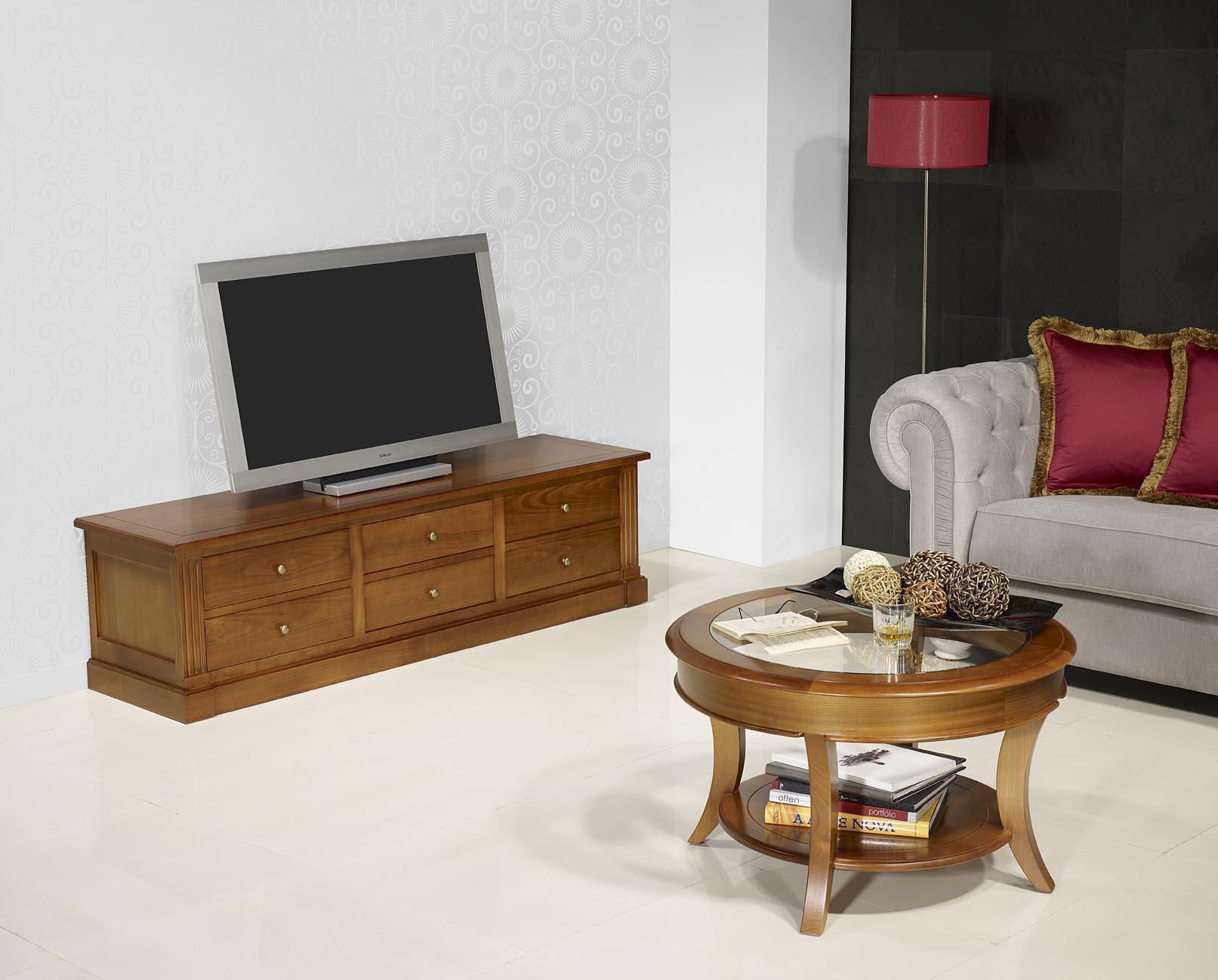 Table basse ronde Melodie en Merisier Massif de style Louis Philippe Plateau  -> Table De Salon Verre Et Merisier