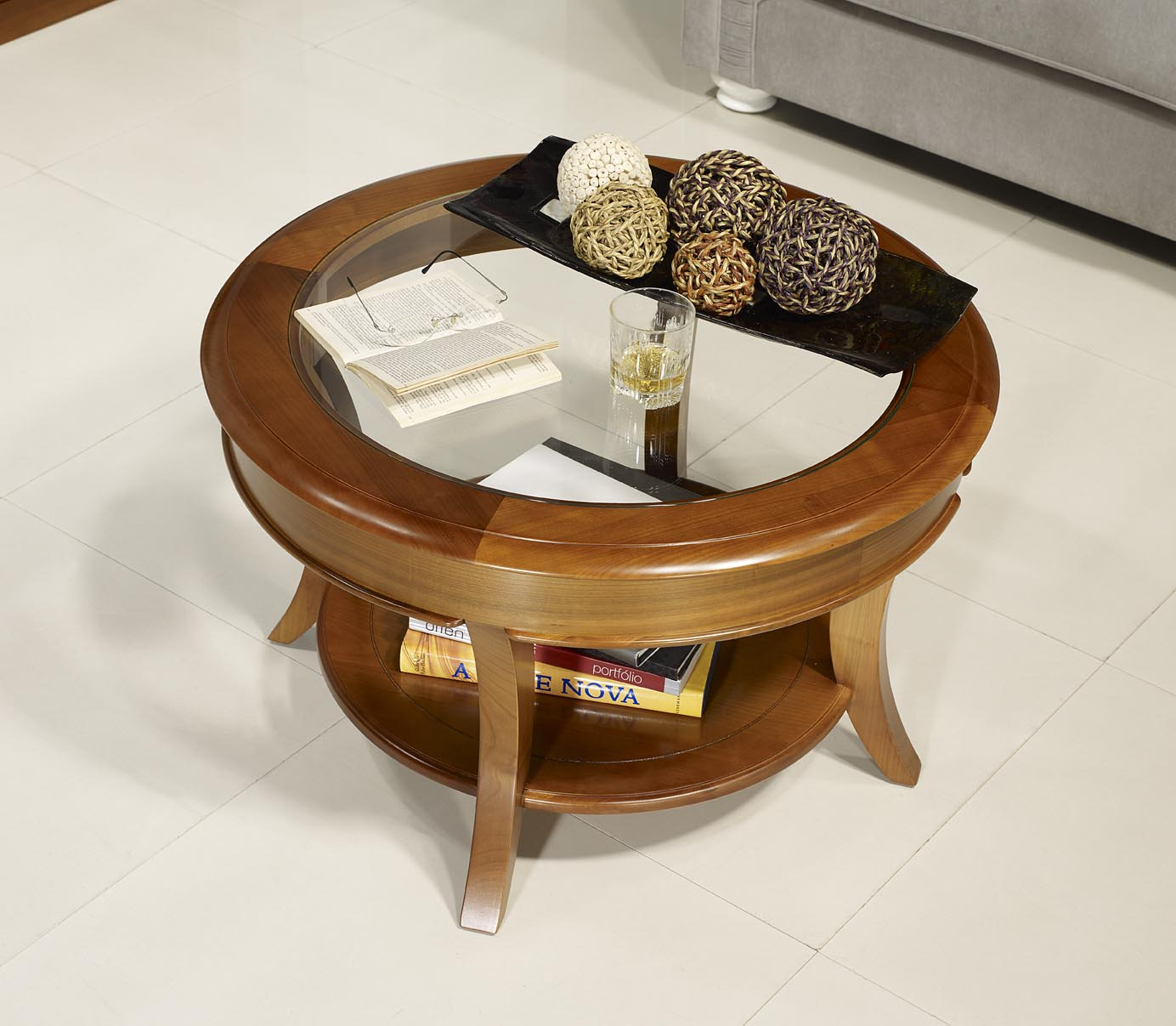 table basse ronde melodie en merisier massif de style. Black Bedroom Furniture Sets. Home Design Ideas