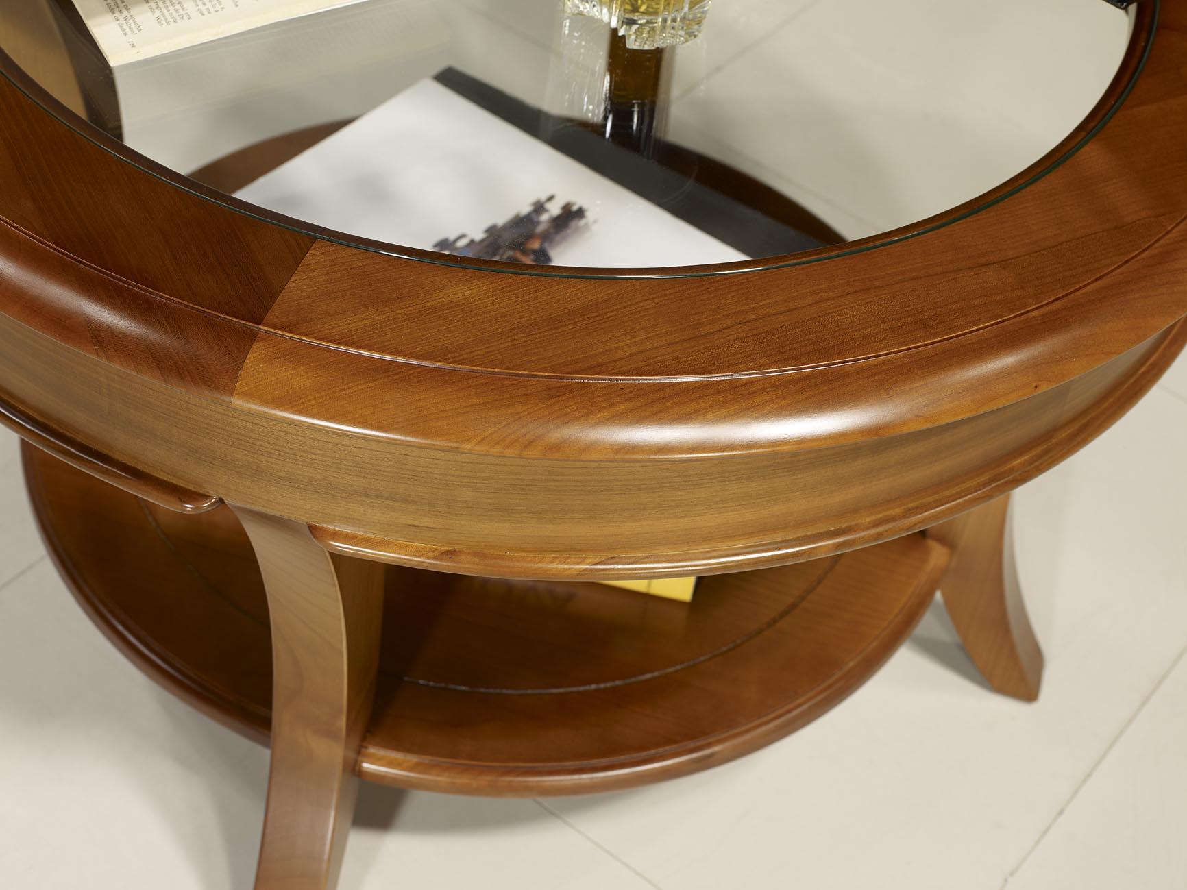 Table basse ronde melodie en merisier massif de style louis philippe plateau verre diam tre 80 - Table de salon ronde en verre ...