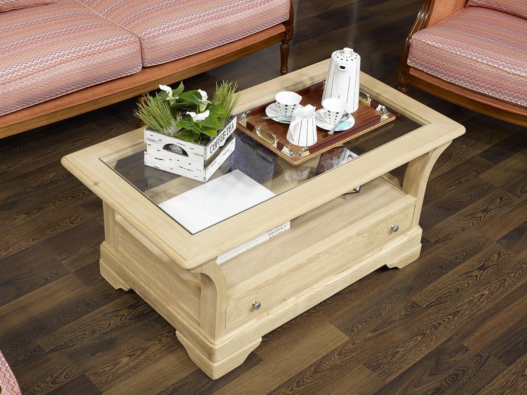 Table basse raphael en ch ne massif de style louis for Table basse en chene massif