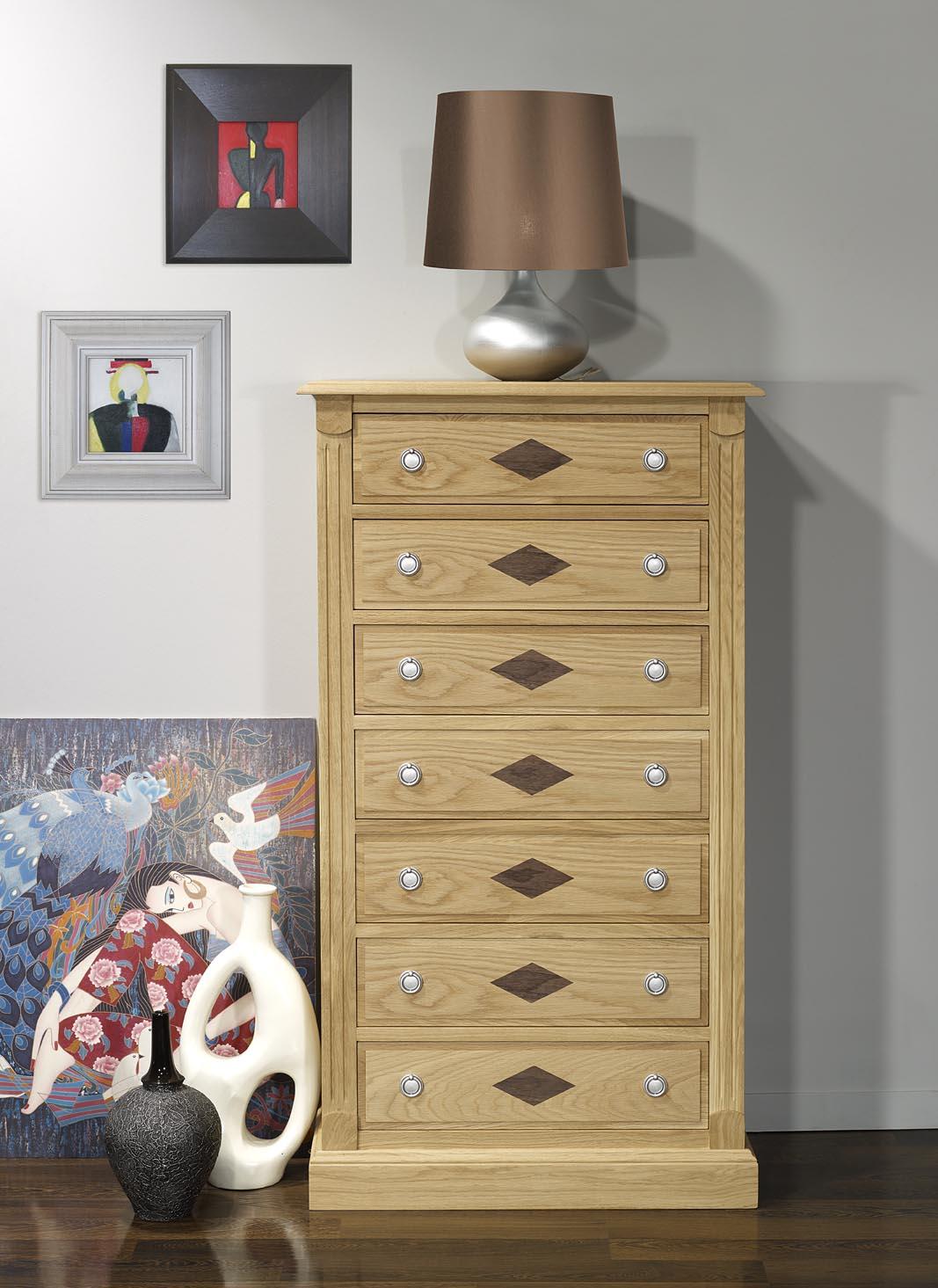 semainier 7 tiroirs valentin en ch ne de style directoire finition ch ne bross naturel meuble. Black Bedroom Furniture Sets. Home Design Ideas