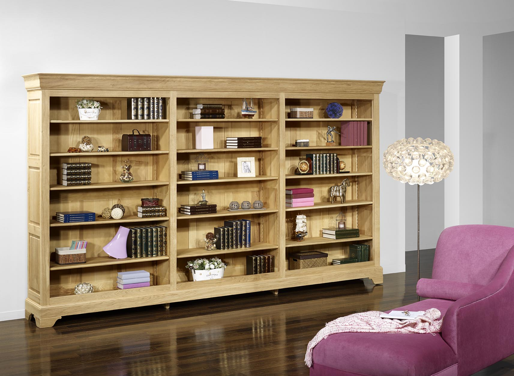 biblioth que simon en ch ne massif de style louis philippe longueur 360 cm meuble en ch ne massif. Black Bedroom Furniture Sets. Home Design Ideas