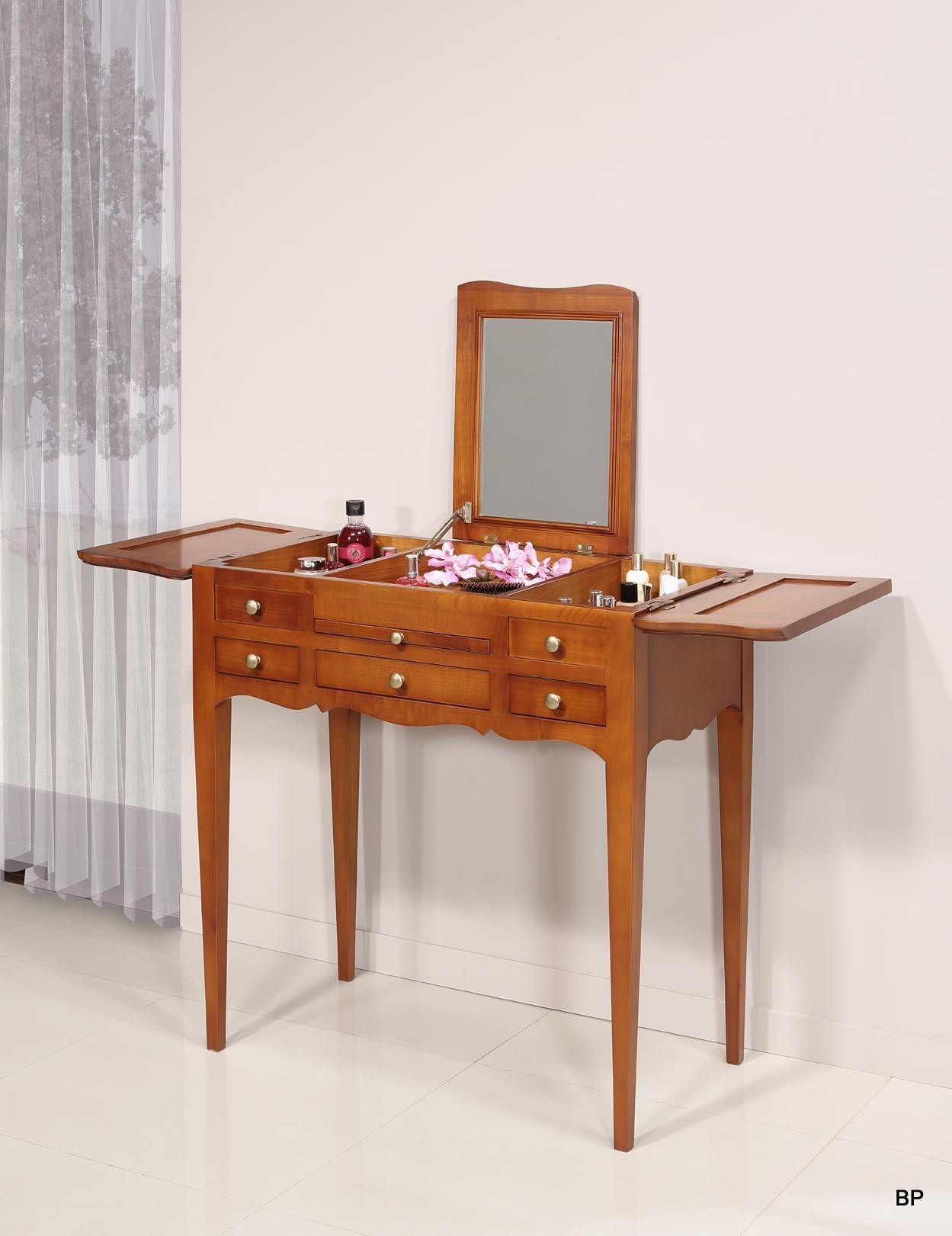 table de toilette ou coiffeuse en merisier de style louis philippe meuble en merisier massif. Black Bedroom Furniture Sets. Home Design Ideas