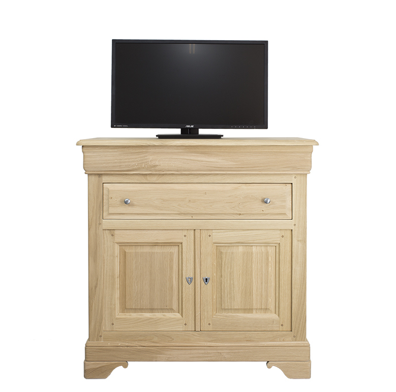 meuble tv en ch ne massif de style louis philippe plateau pivotant finition ch ne bross blanchi. Black Bedroom Furniture Sets. Home Design Ideas