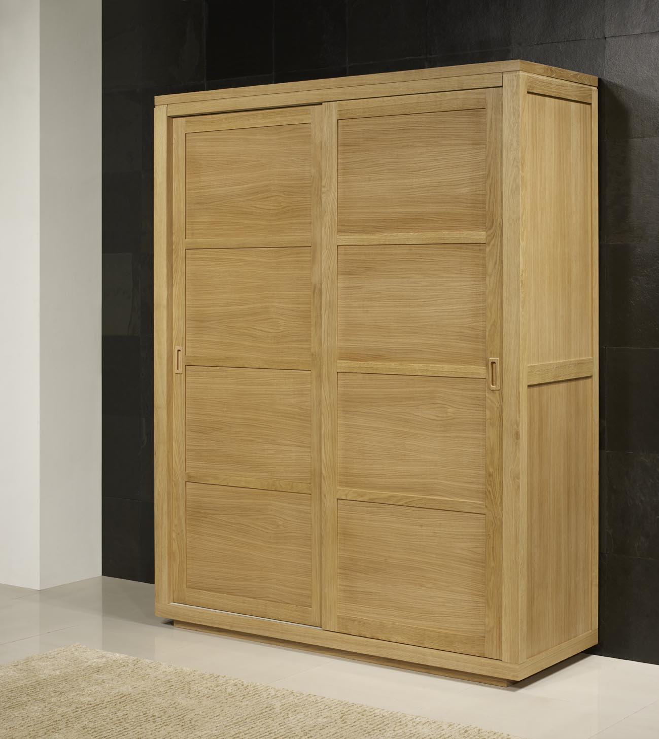 armoire 2 portes coulissantes julien en ch ne de ligne contemporaine meuble en ch ne massif. Black Bedroom Furniture Sets. Home Design Ideas