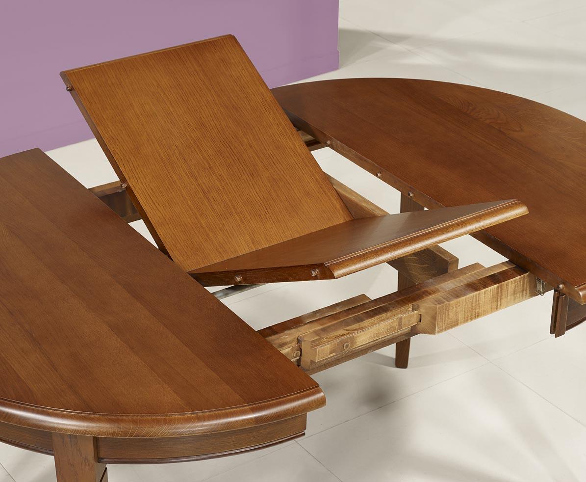 Table ronde 4 pieds marc en ch ne massif de style louis for Plateau table ronde 110 cm