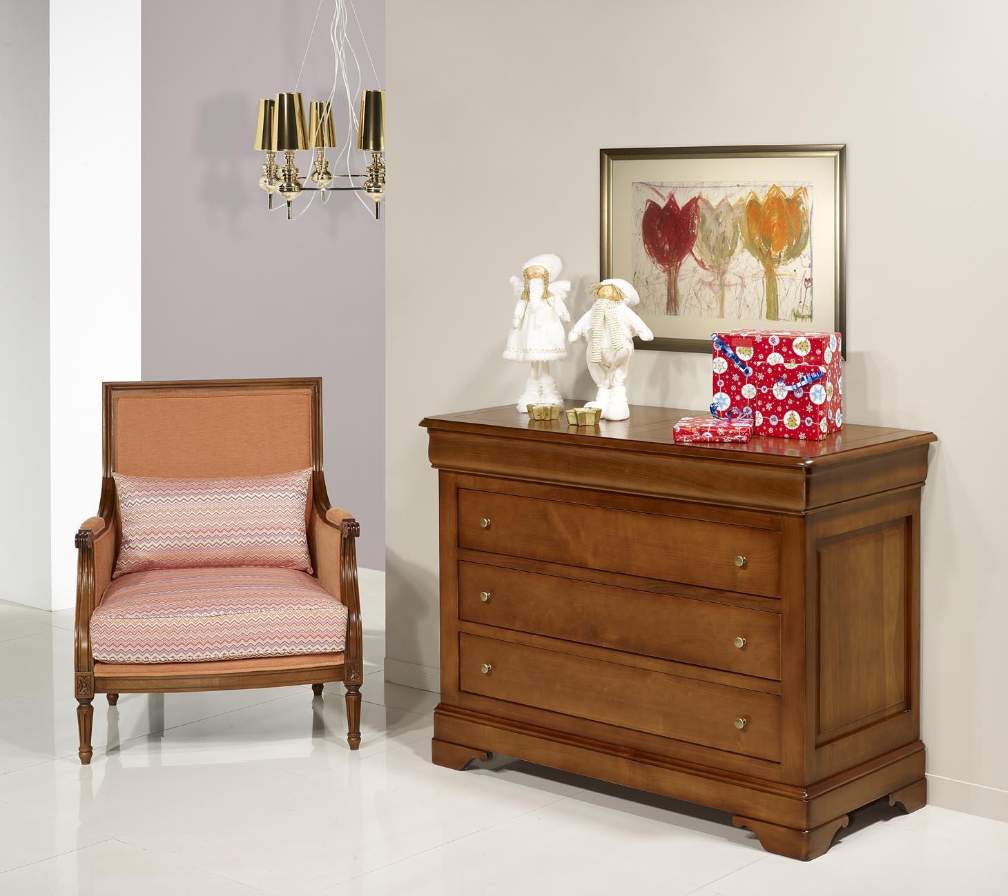 Commode 4 tiroirs en merisier massif de style louis for Meubles bois massif
