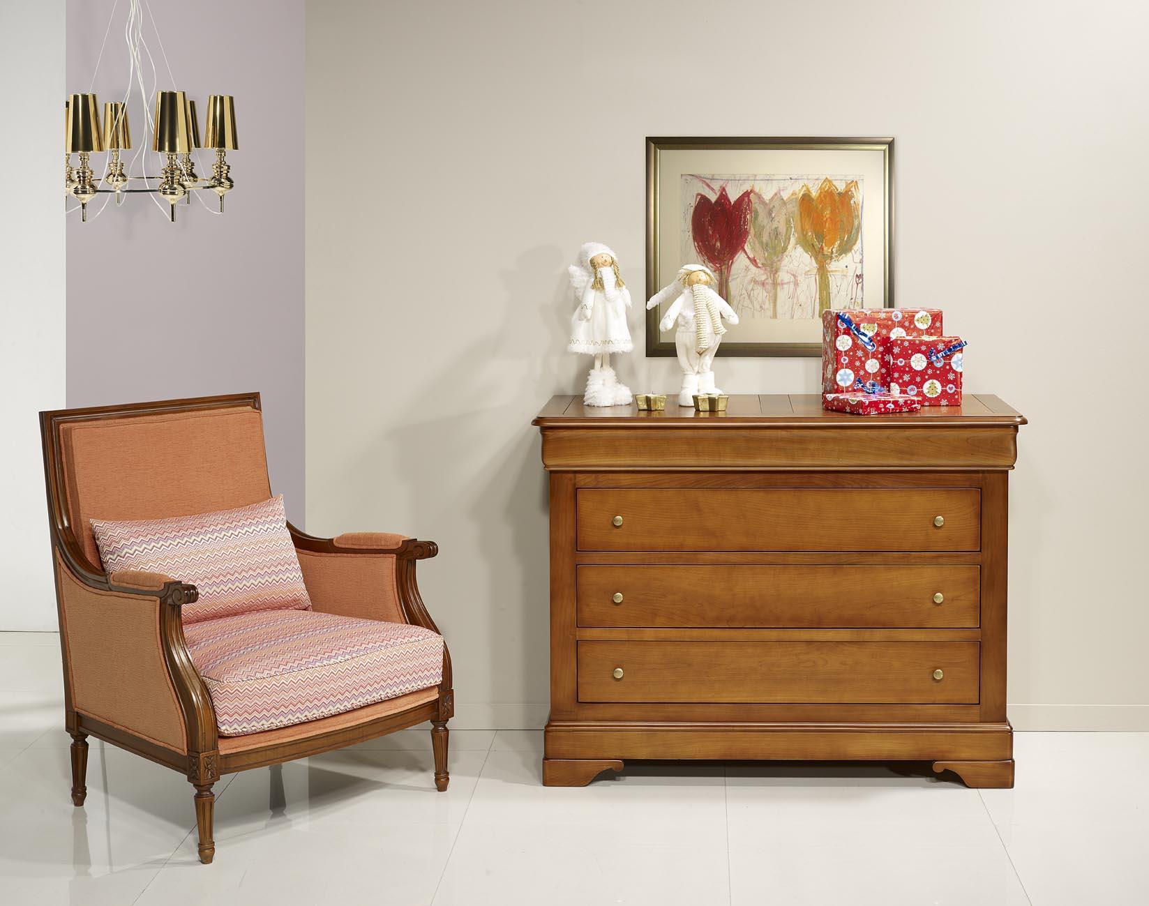 commode 4 tiroirs en merisier massif de style louis philippe meuble en merisier massif. Black Bedroom Furniture Sets. Home Design Ideas