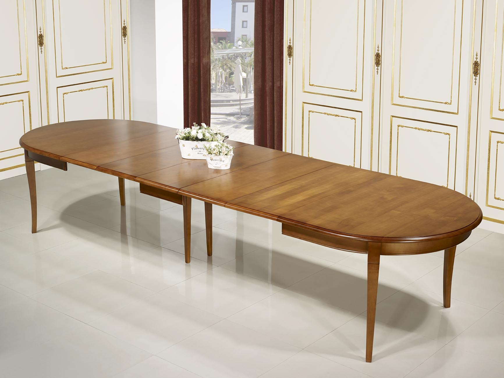 Table ovale julie 180 120 en merisier massif de style for Table extensible 120 240 cm allonge integree