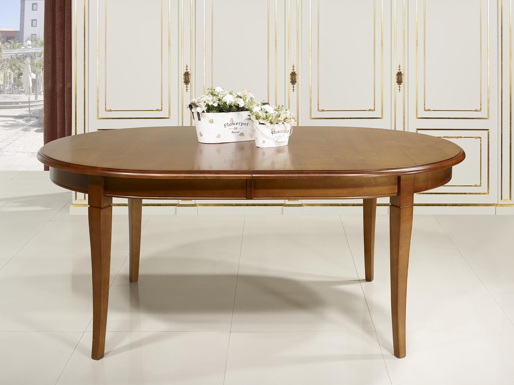 Table ovale julie 180 120 en merisier massif de style for Table bois massif ovale
