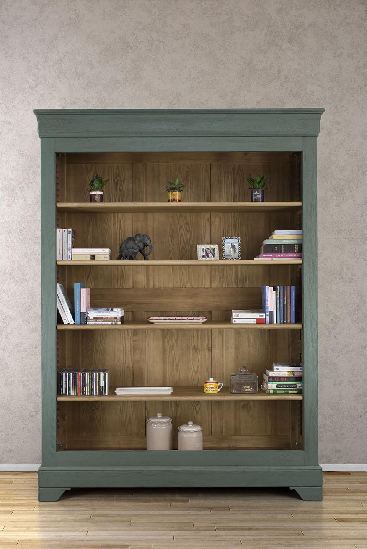 biblioth que thiago en ch ne massif de style louis philippe 4 tag res vert antik meuble en. Black Bedroom Furniture Sets. Home Design Ideas
