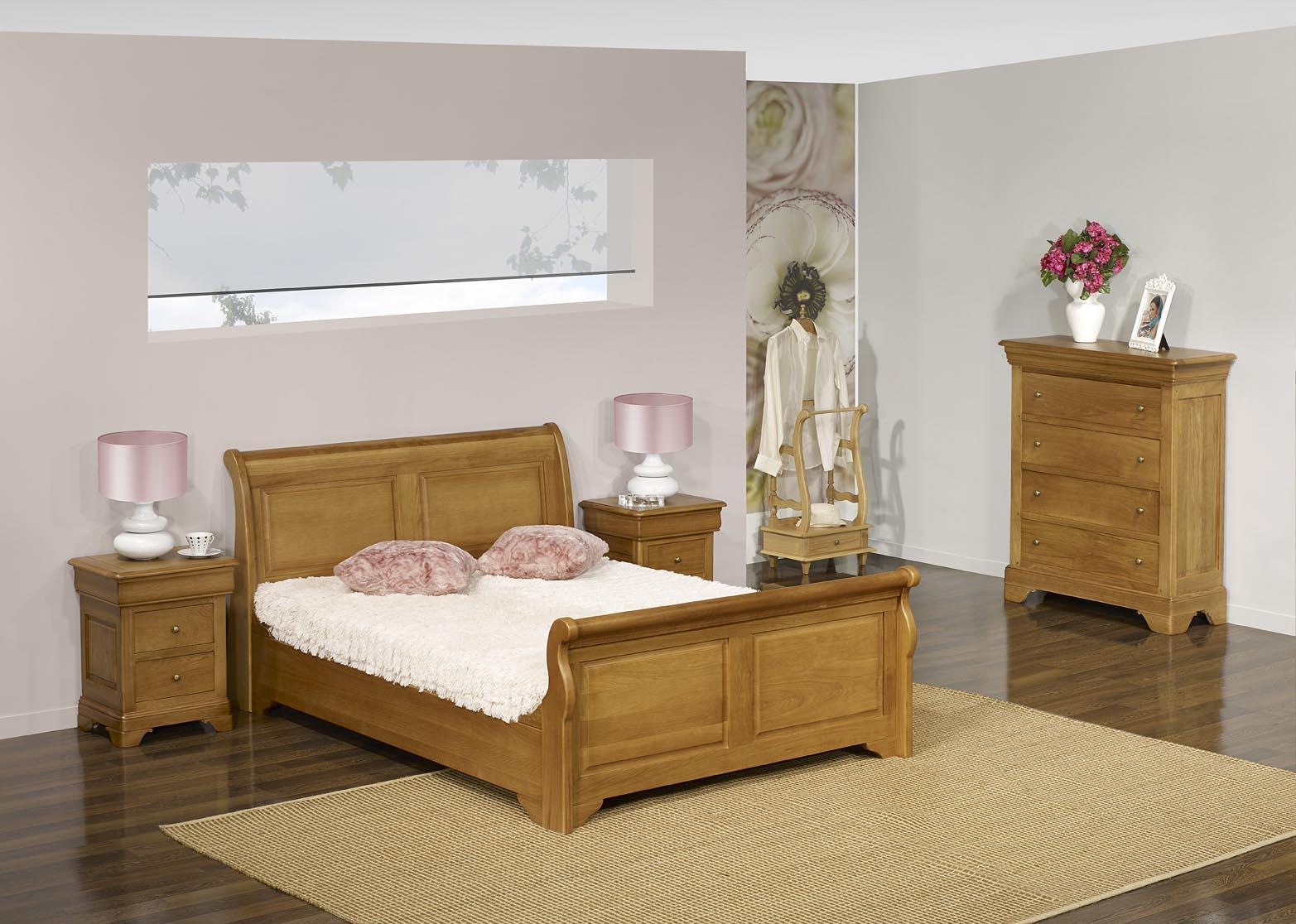 lit bateau 160x200 etienne en ch ne massif de style louis philippe campagnard meuble en ch ne. Black Bedroom Furniture Sets. Home Design Ideas