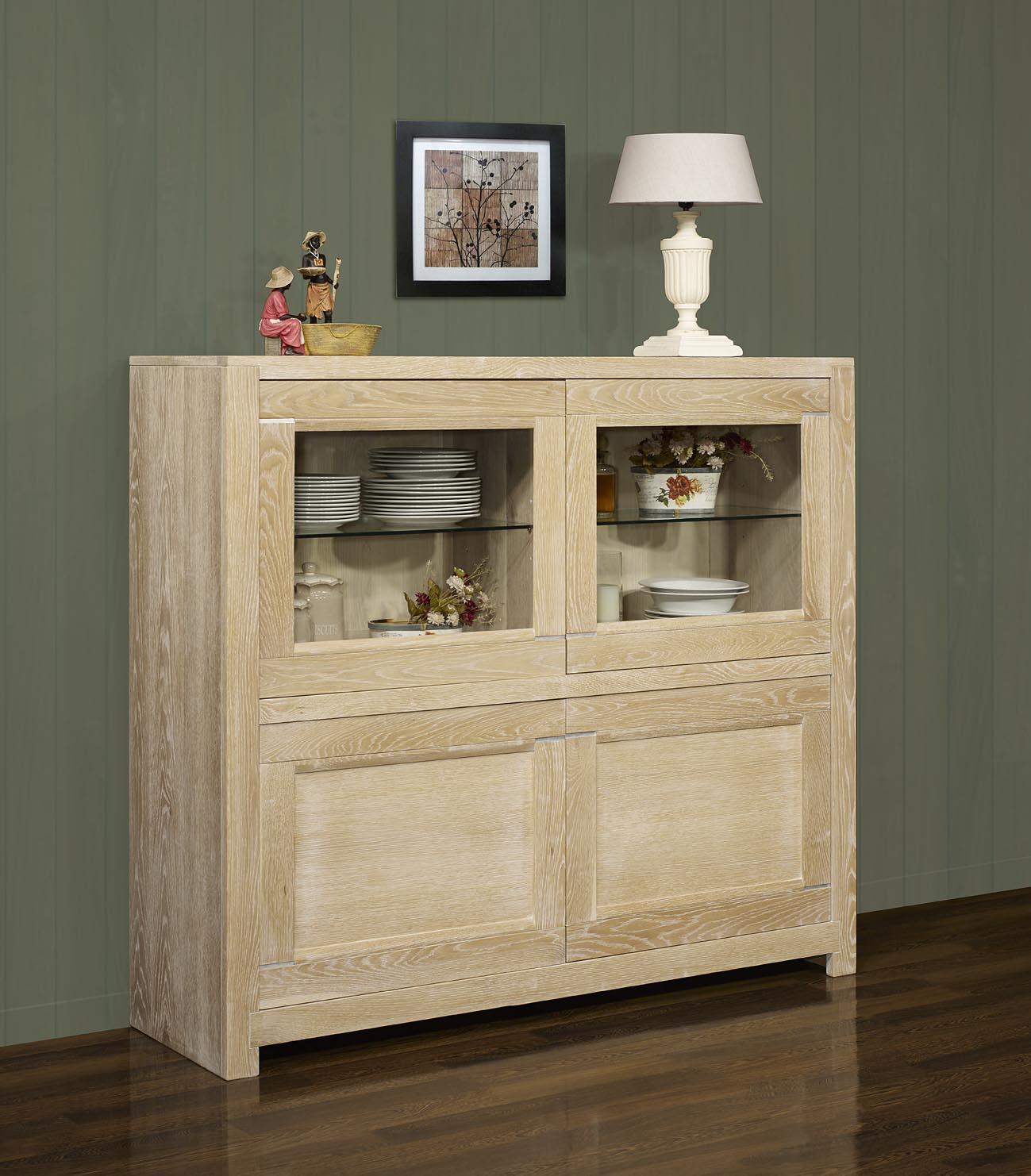 vitrine 4 portes loann en ch ne massif de style contemporain largeur 160 cm meuble en ch ne massif. Black Bedroom Furniture Sets. Home Design Ideas