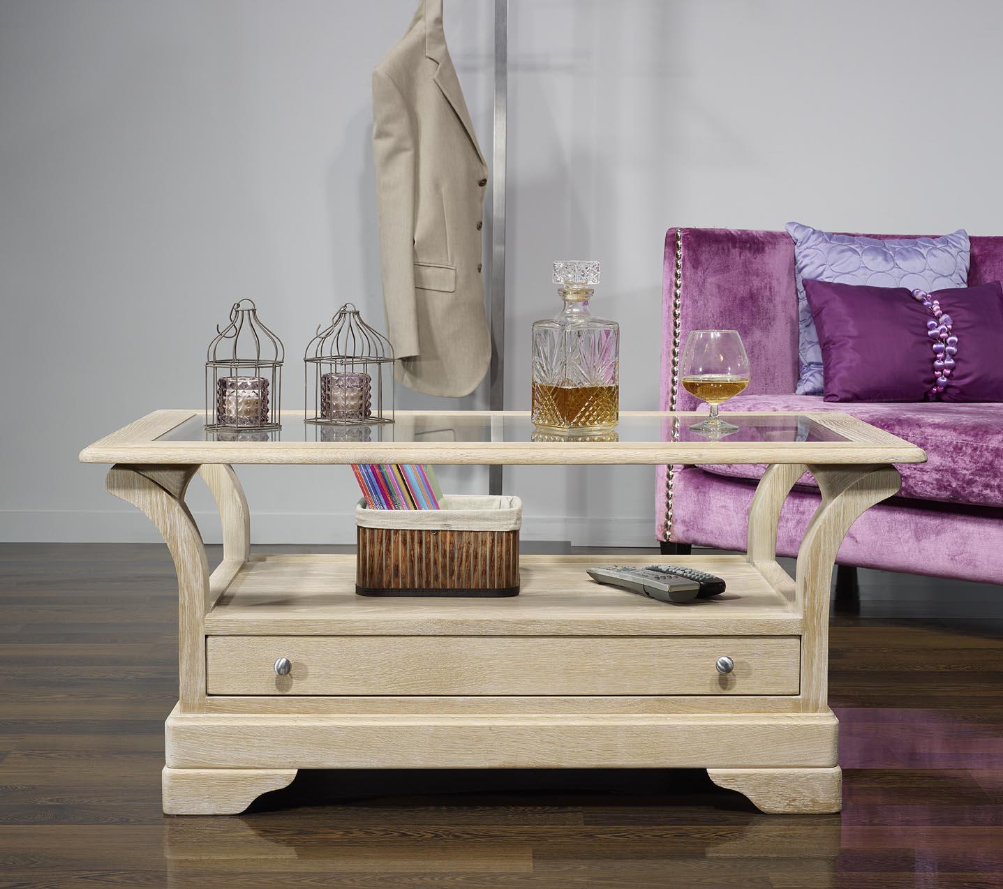 Table basse raphael en ch ne massif de style louis - Table basse chene blanchi ...