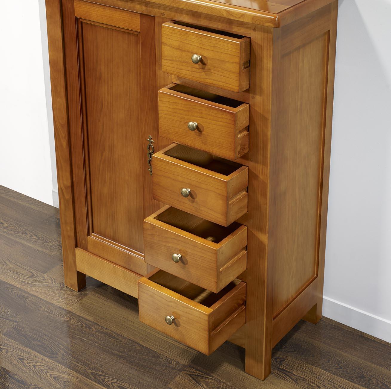 farinier 1 porte 5 tiroirs en merisier massif de style campagne meuble en merisier massif. Black Bedroom Furniture Sets. Home Design Ideas