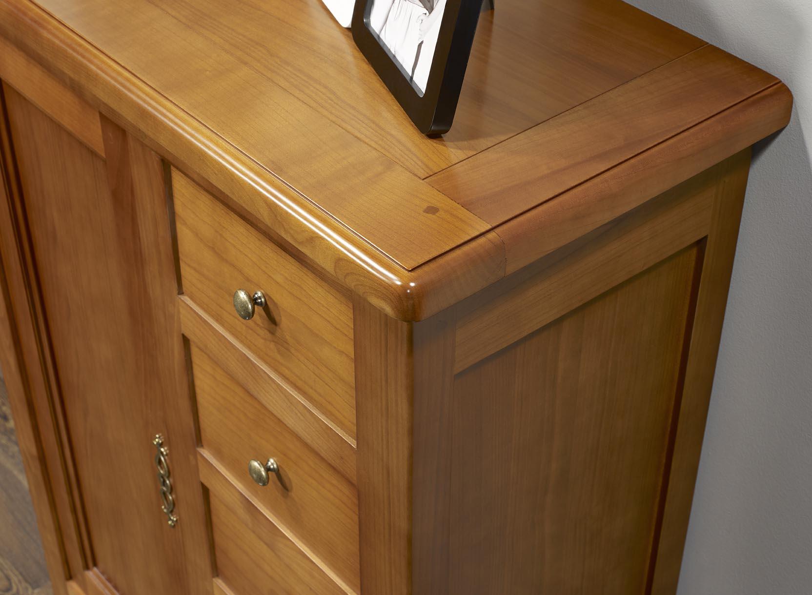 Farinier 1 porte 5 tiroirs en merisier massif de style for Meuble 5 tiroirs