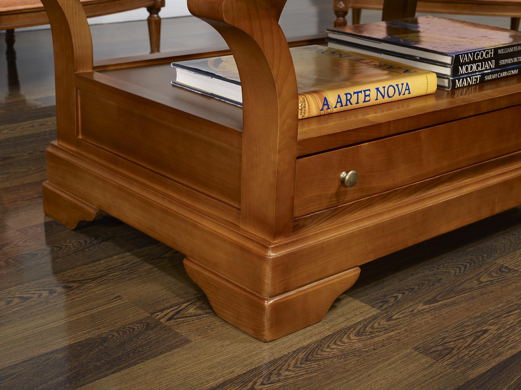Table basse constance en merisier massif de style louis philippe plateau bois meuble en - Table basse louis philippe ...