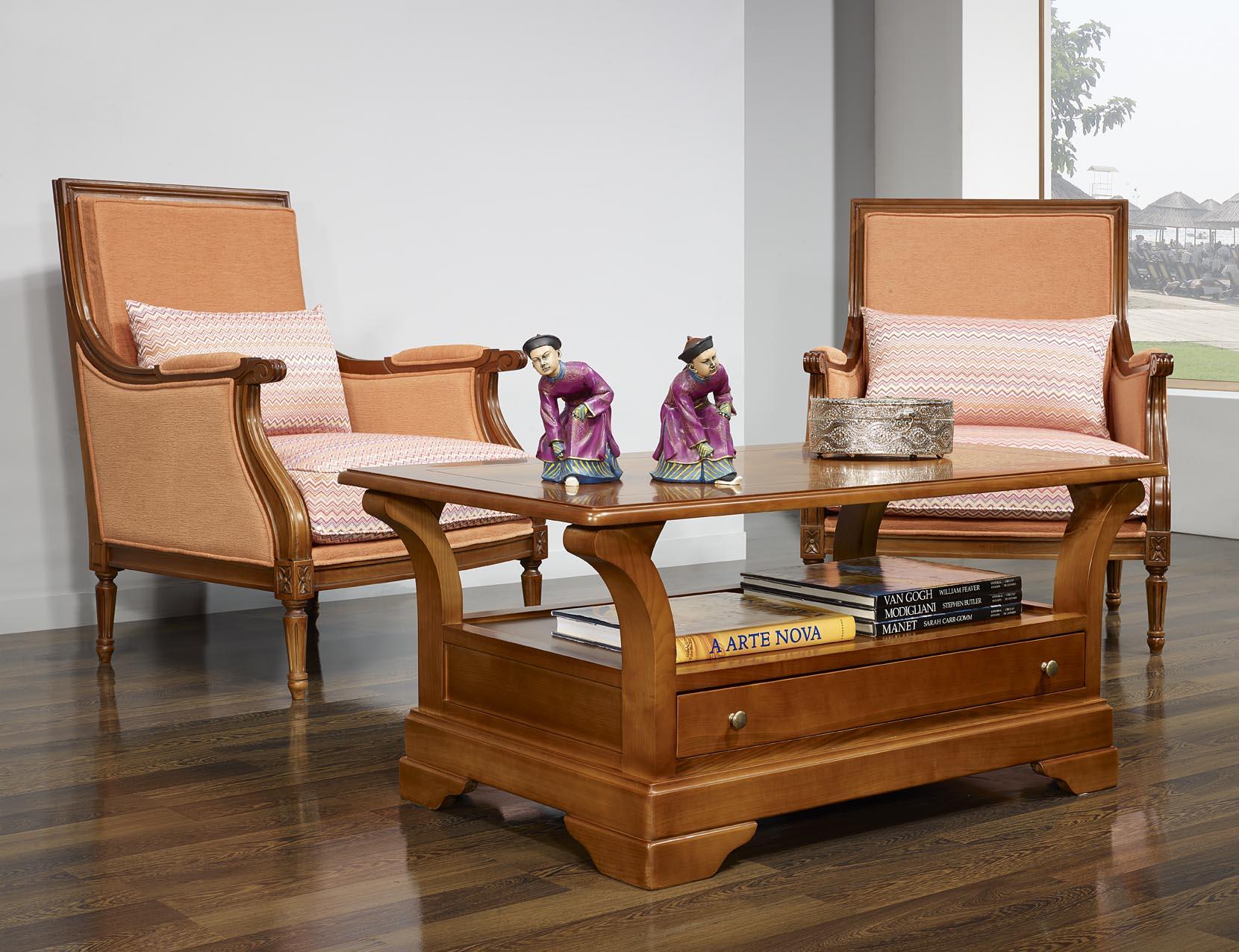 Table Basse Constance En Merisier Massif De Style Louis Philippe  # Classeur De Salon En Bois