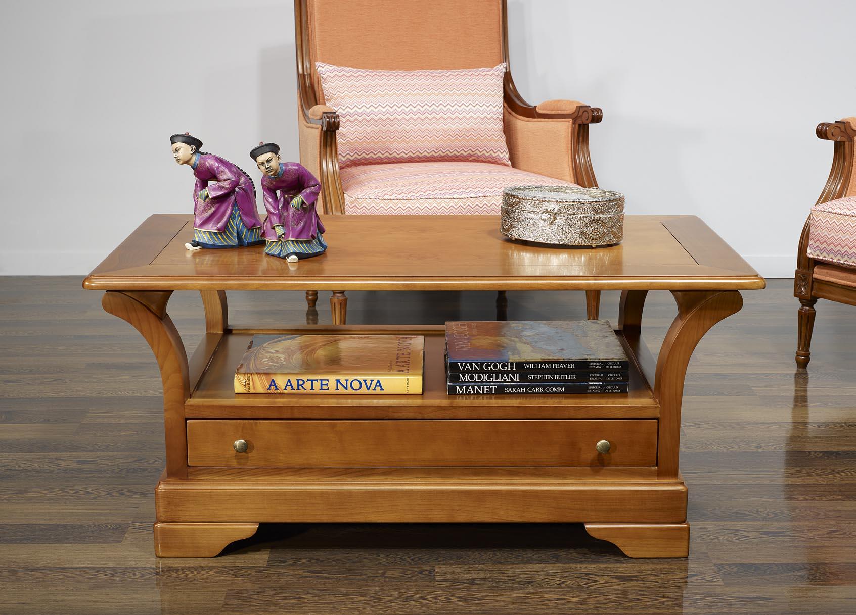 Table basse constance en merisier massif de style louis philippe plateau bois - Plateau de table en bois massif ...