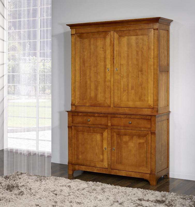 vaisselier 2 corps 2 portes maude en merisier massif de. Black Bedroom Furniture Sets. Home Design Ideas