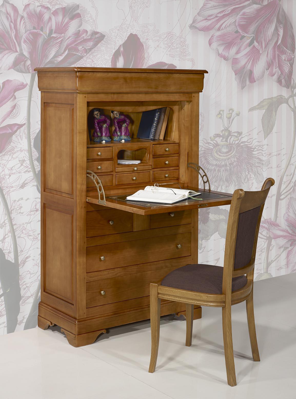 Secr taire en merisier massif de style louis philippe for Bon plan meuble