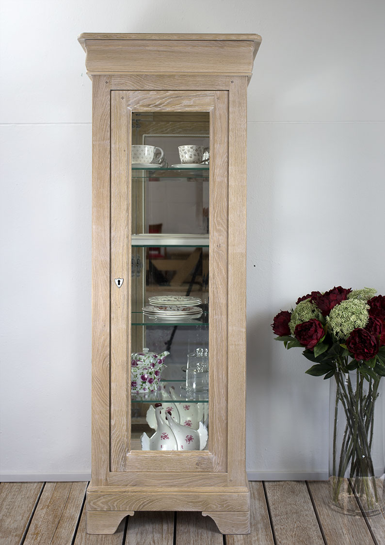 Argentier 1 porte 1 tiroir en ch ne massif de style louis for Soldes portes interieures