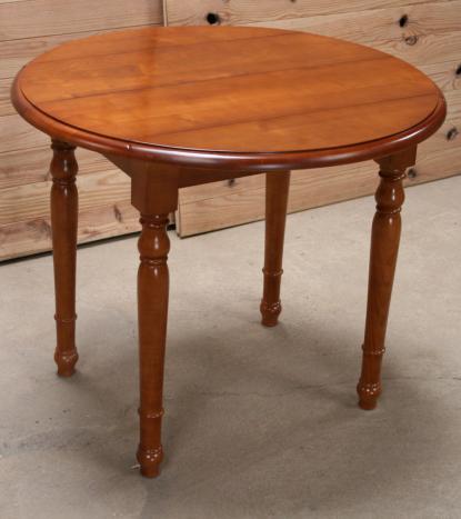 Table Ronde à Volets Diamètre En Merisier Massif De Style Louis - Table ronde bois massif
