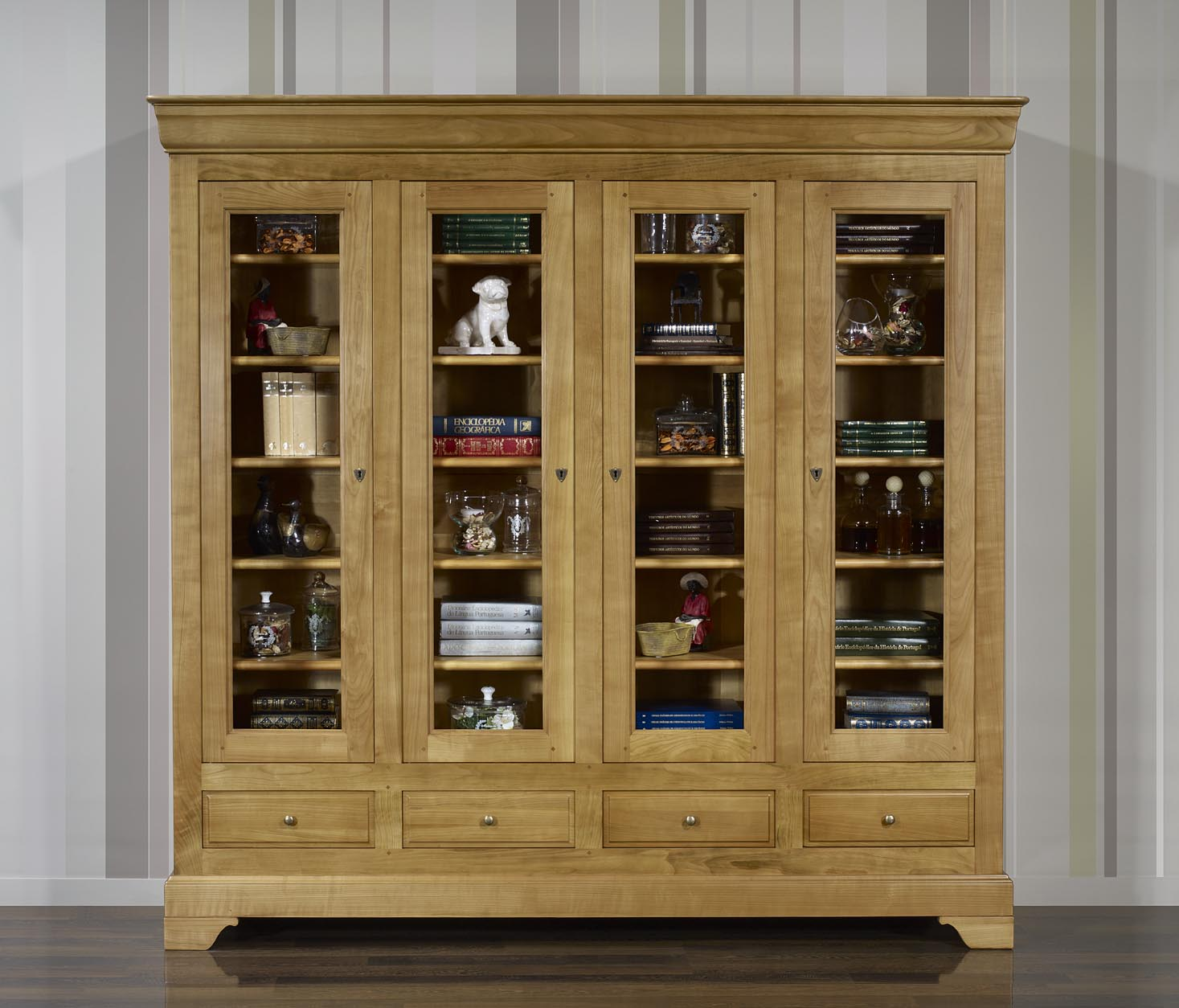 biblioth que 4 portes eliot en merisier massif de style louis philippe meuble en merisier massif. Black Bedroom Furniture Sets. Home Design Ideas